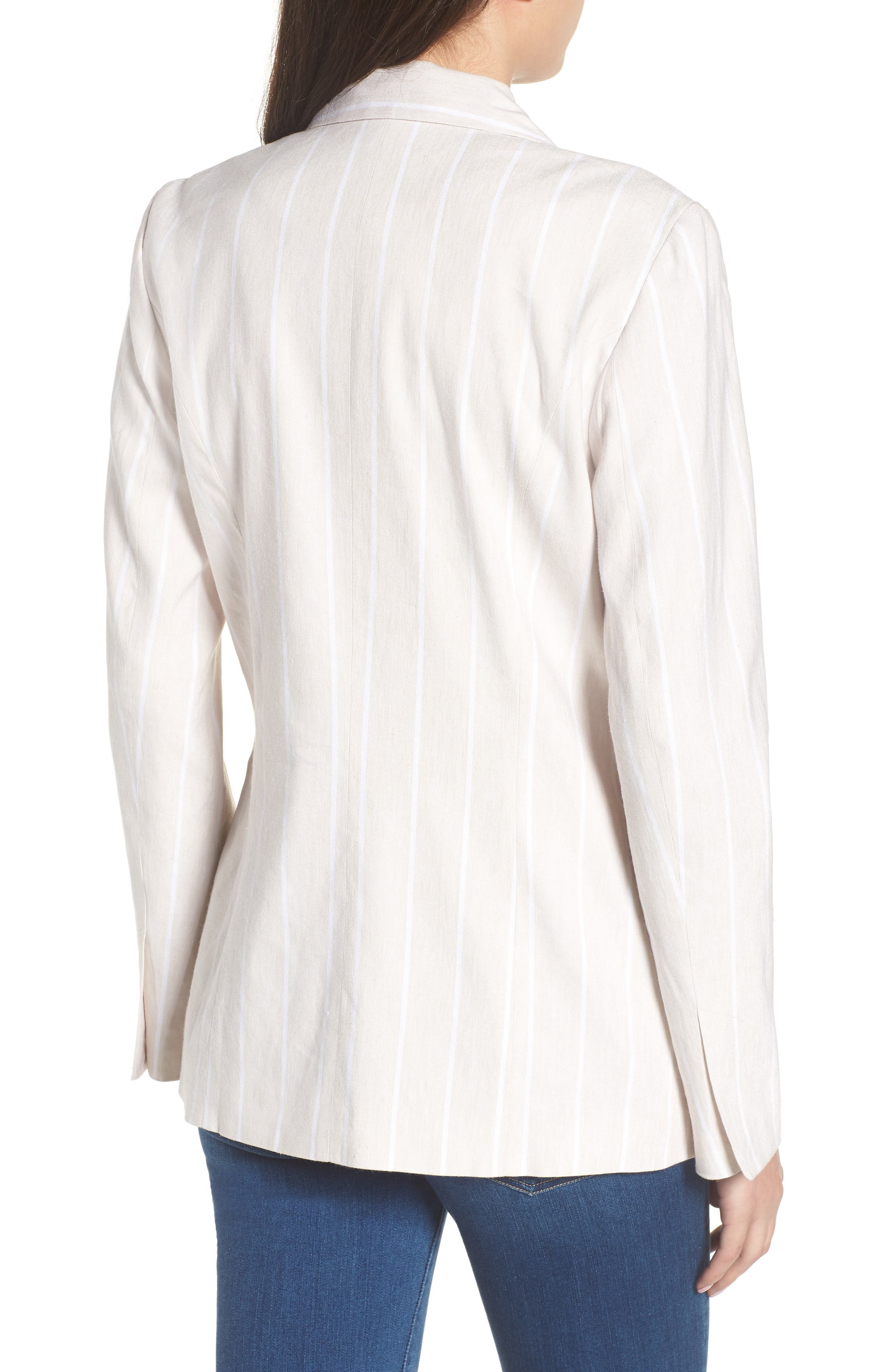 Double Breasted Linen Blend Blazer,                             Alternate thumbnail 7, color,