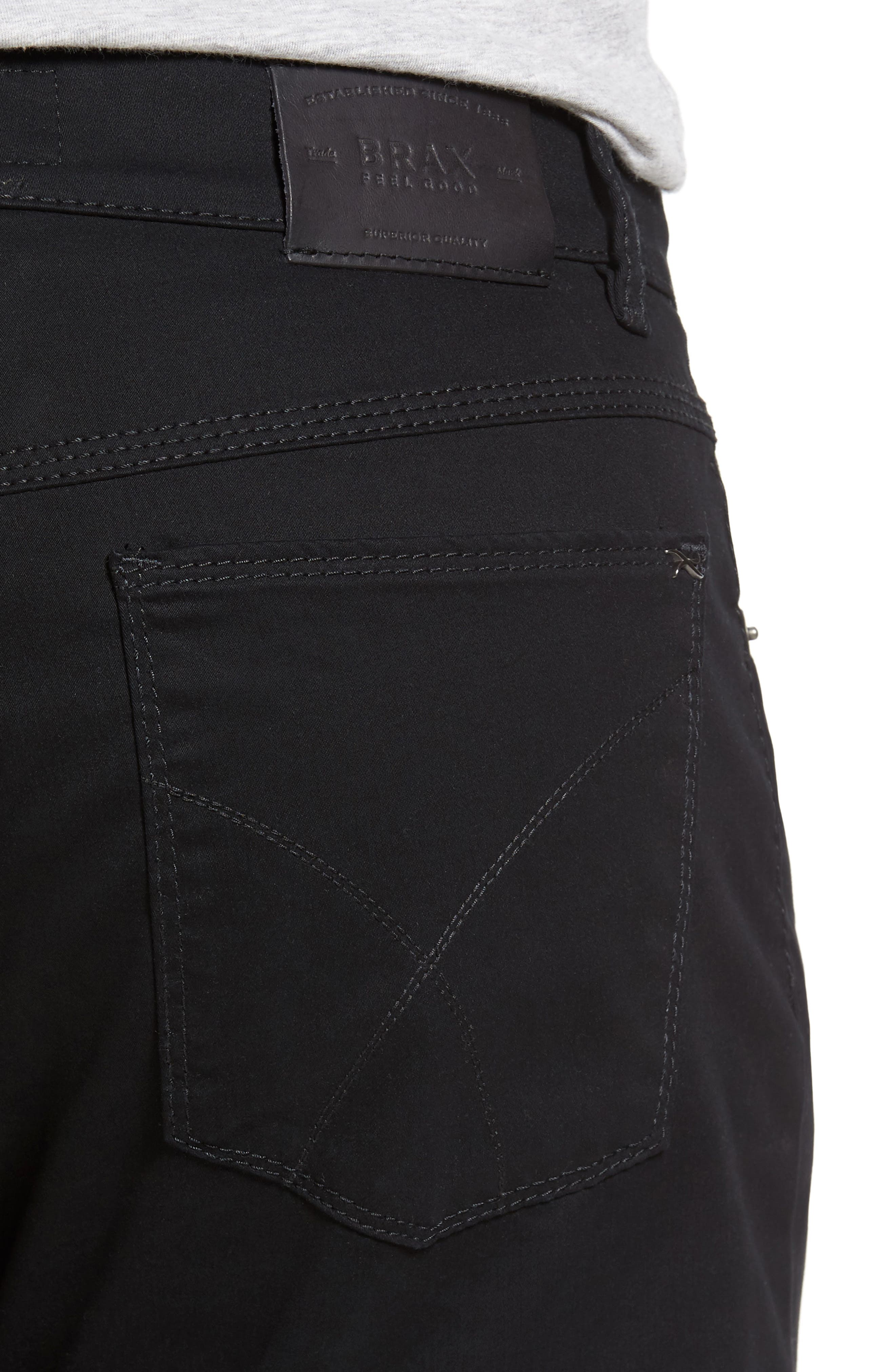 Cooper Prestige Stretch Cotton Pants,                             Alternate thumbnail 5, color,                             PERMA BLACK