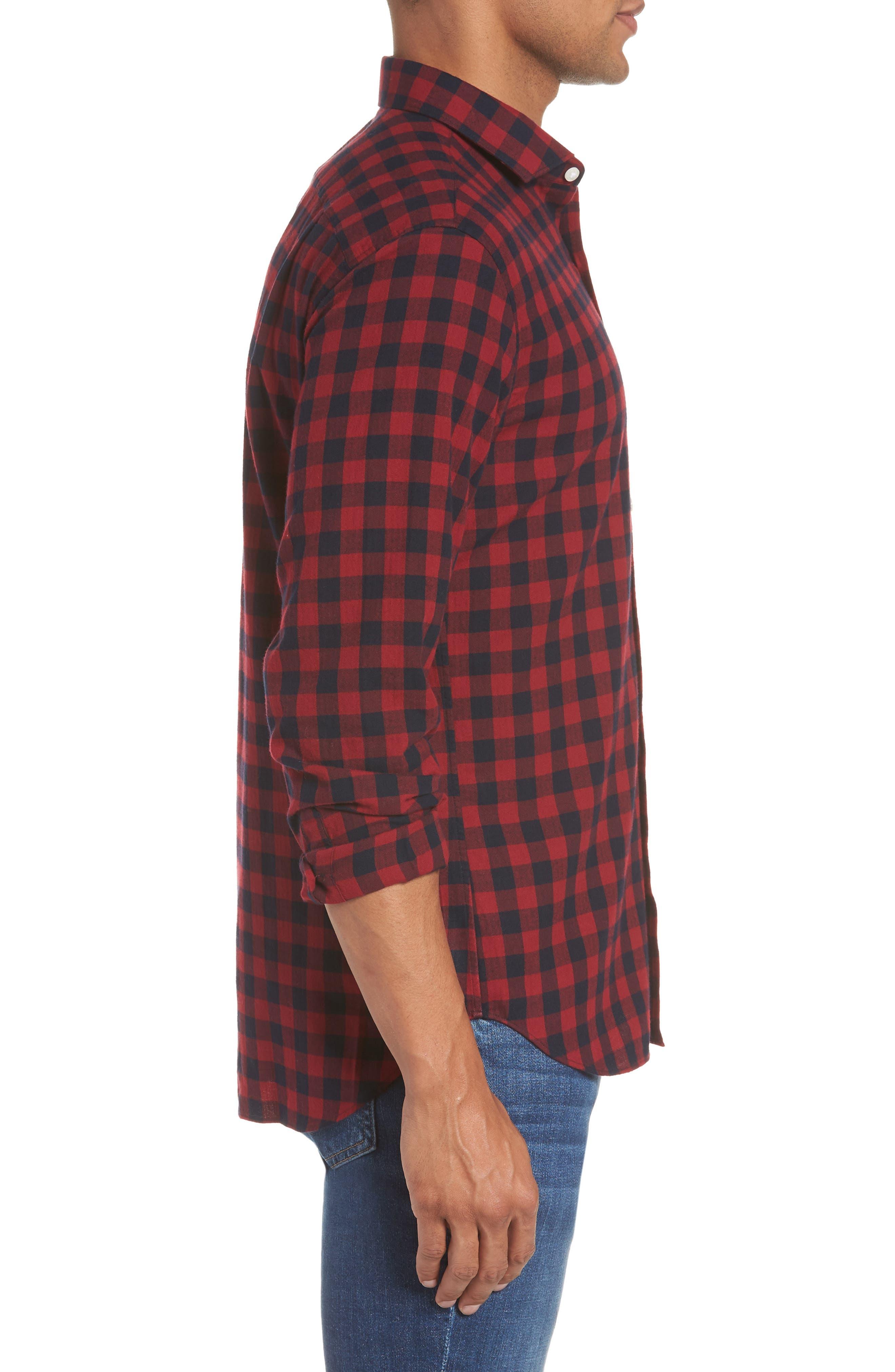 Unbutton Down Slim Fit Sport Shirt,                             Alternate thumbnail 3, color,                             GARNET