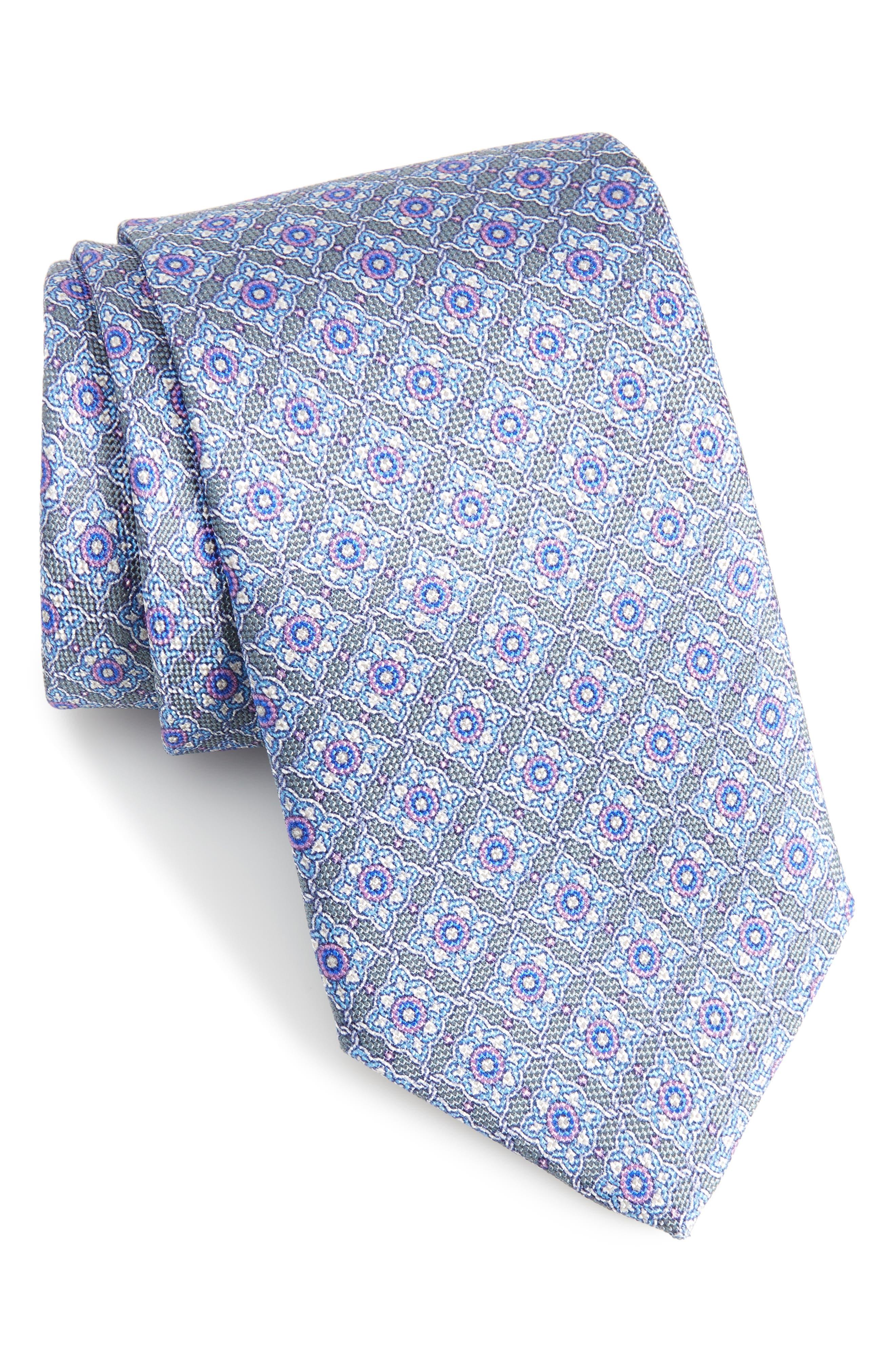 Medallion Silk Tie,                             Main thumbnail 1, color,                             020