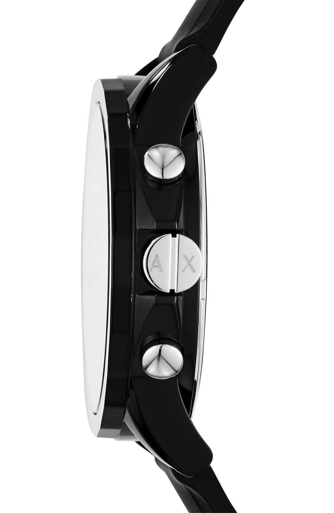Chronograph Silicone Strap Watch, 44mm,                             Alternate thumbnail 2, color,                             BLACK/ BLACK