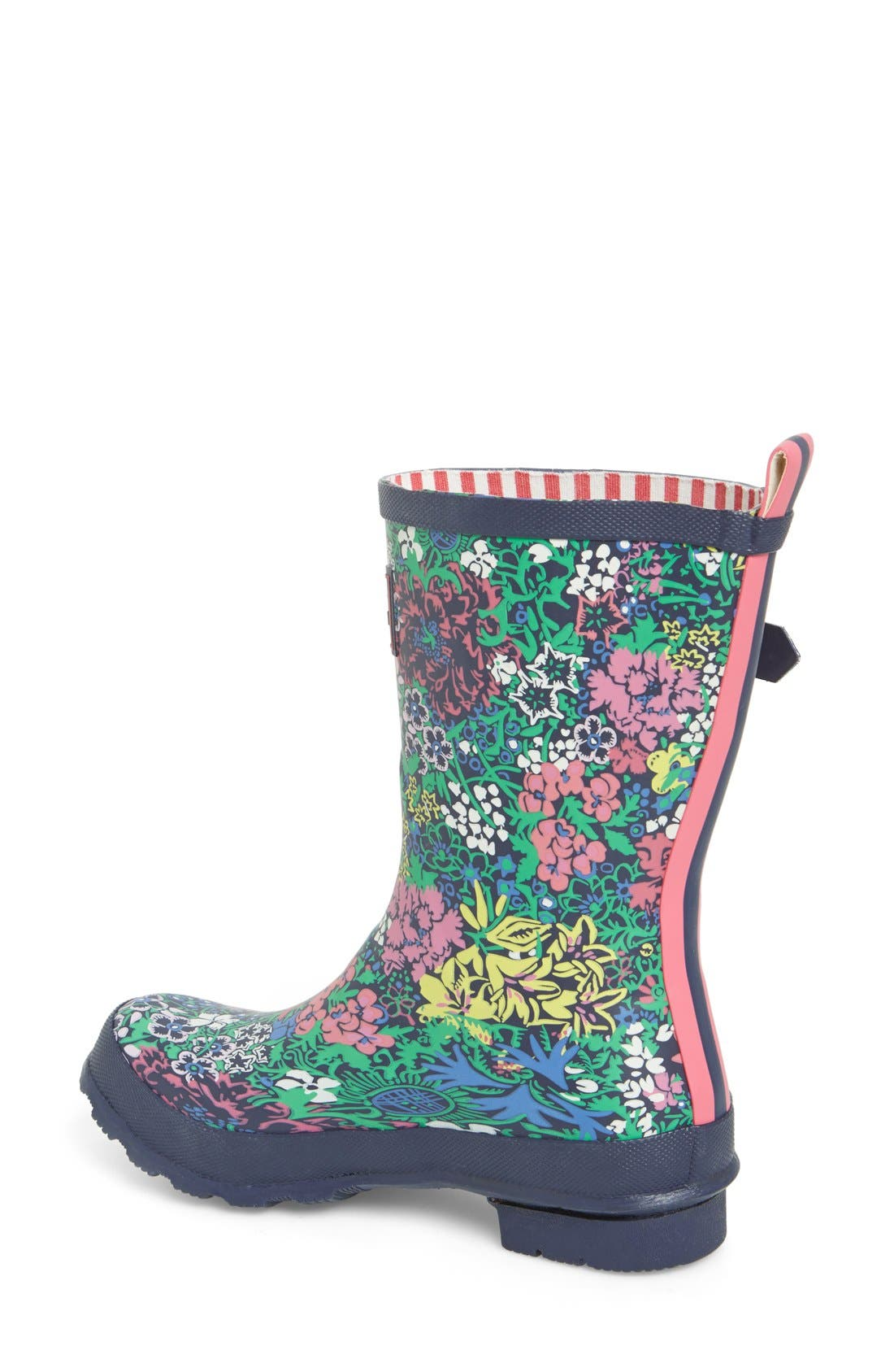 JOULES,                             Mid Height Print Welly Rain Boot,                             Alternate thumbnail 3, color,                             401