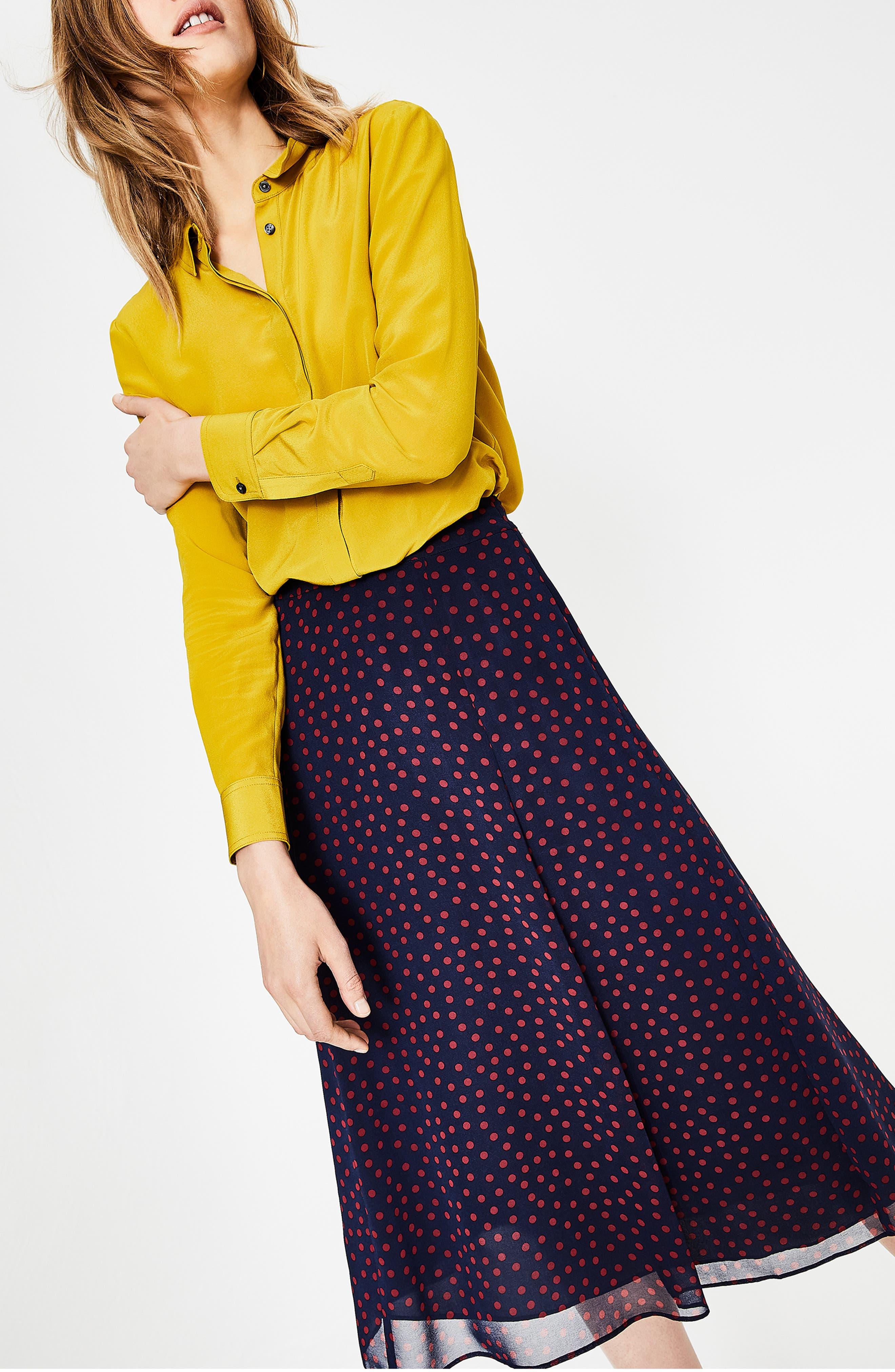 Polka Dot A-Line Skirt,                             Alternate thumbnail 6, color,                             934