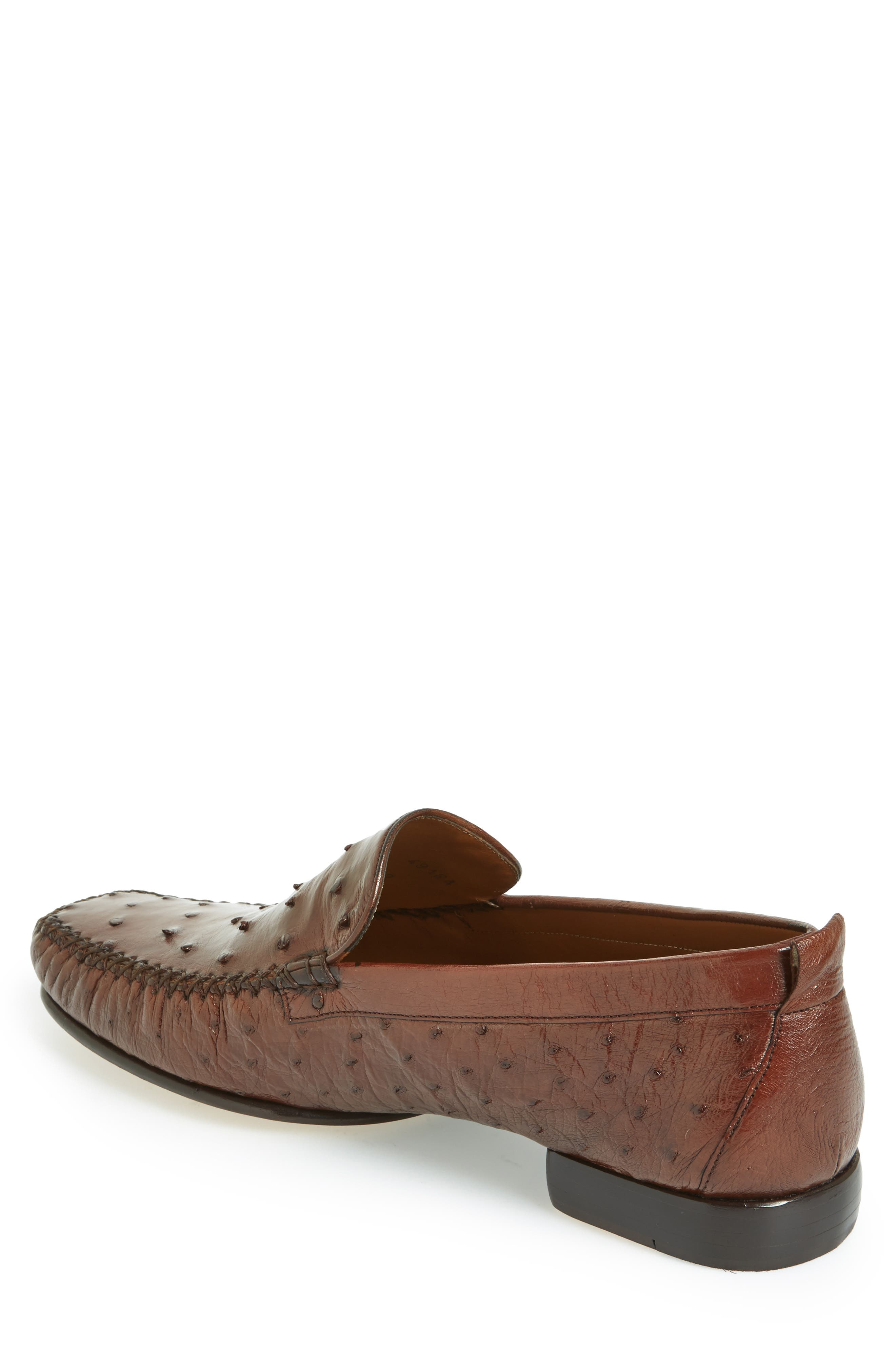 'Rollini' Ostrich Leather Loafer,                             Alternate thumbnail 6, color,                             TOBACCO