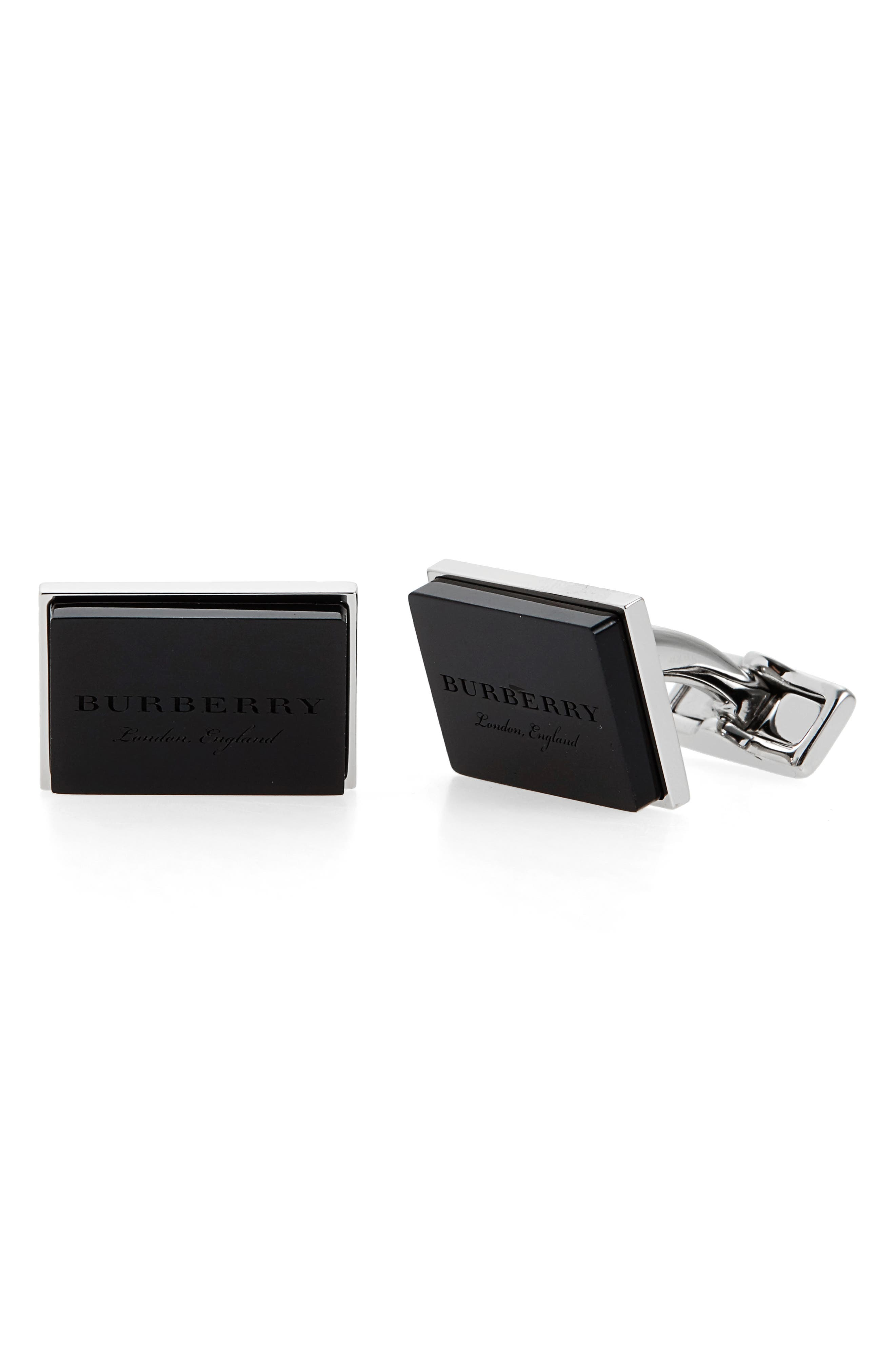 Buberry London England Square Cuff Links,                             Main thumbnail 1, color,