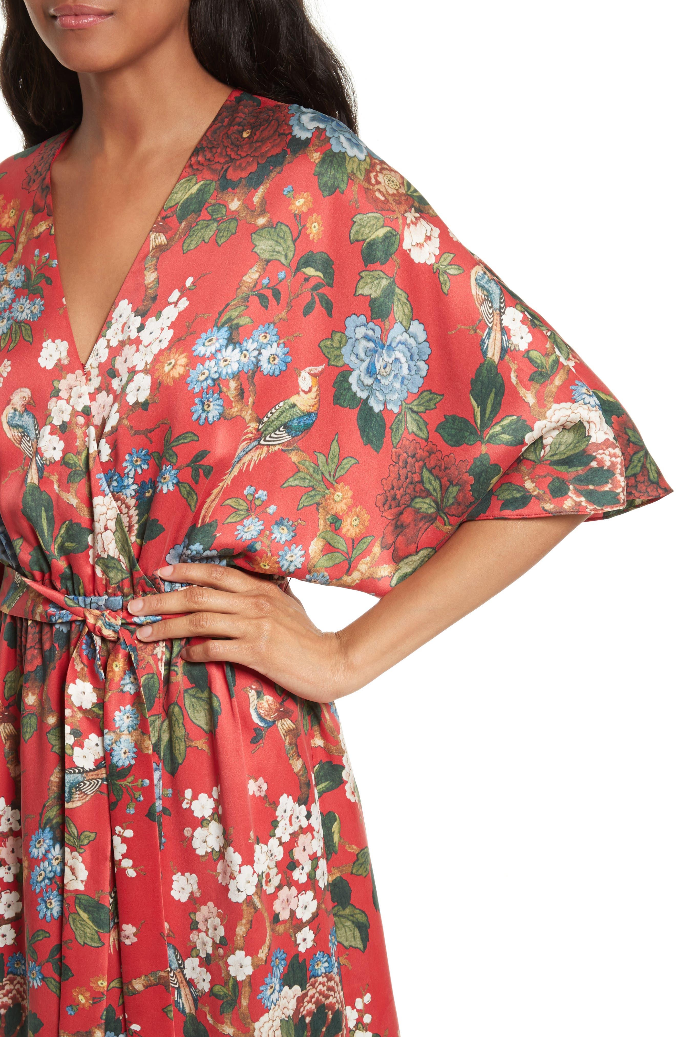 Clarine Floral Silk Wrap Dress,                             Alternate thumbnail 4, color,                             647
