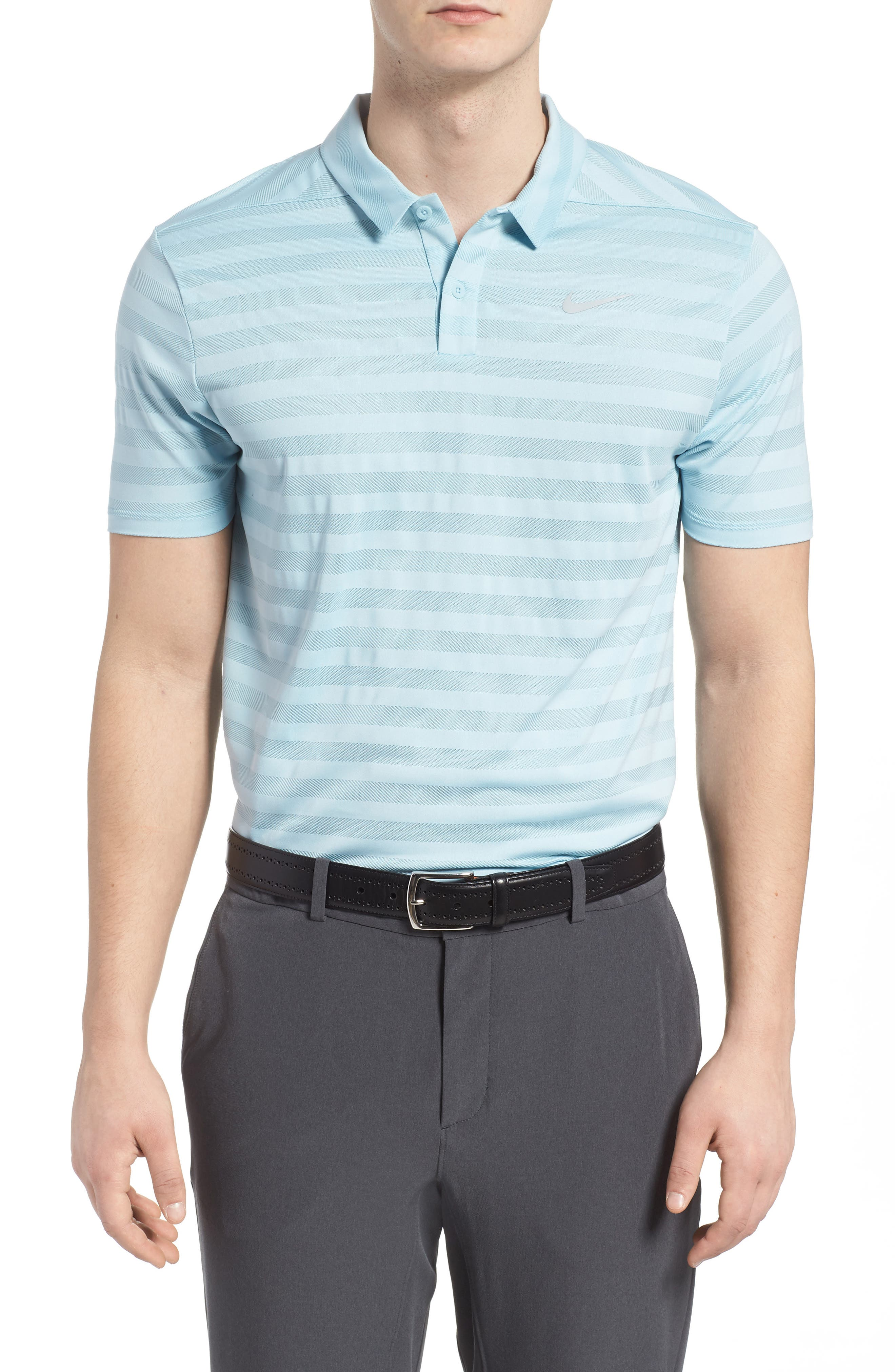 Dry Stripe Polo,                         Main,                         color, OCEAN BLISS/ SILVER