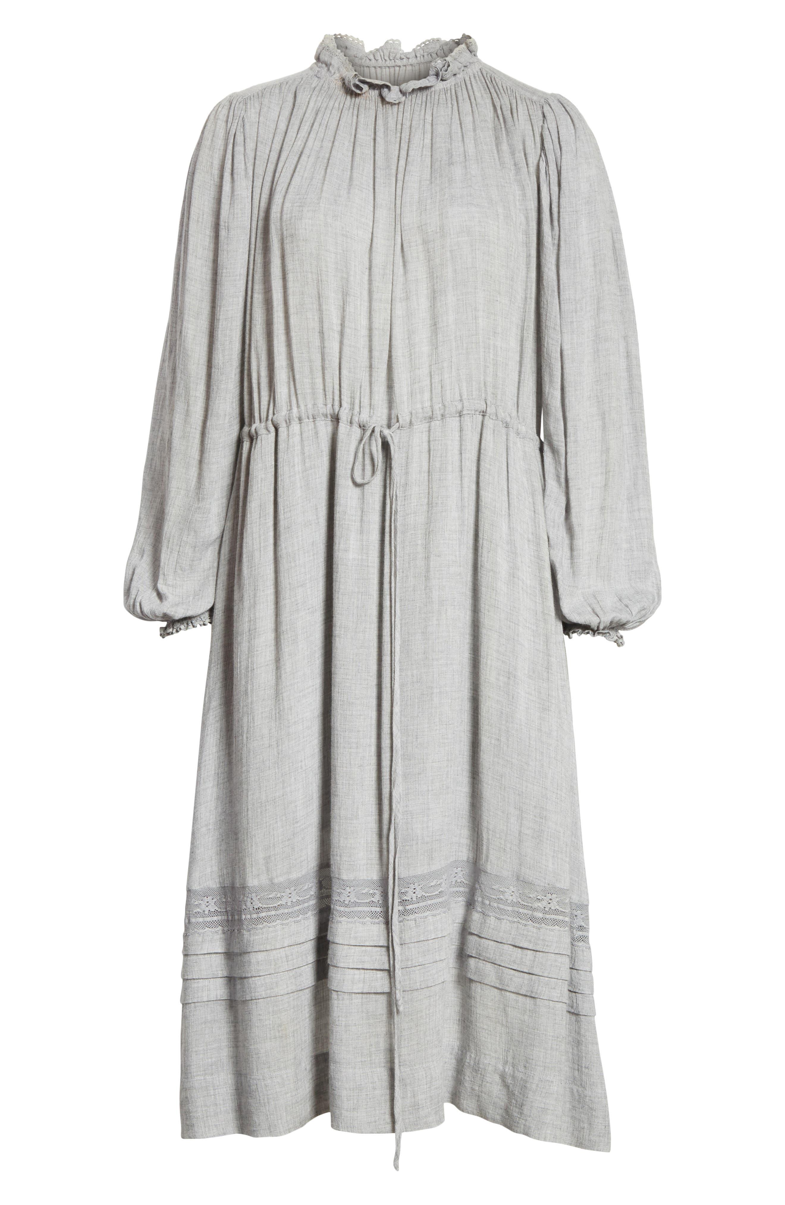 Lace Trim Gauze Drawstring Midi Dress,                             Alternate thumbnail 6, color,                             052