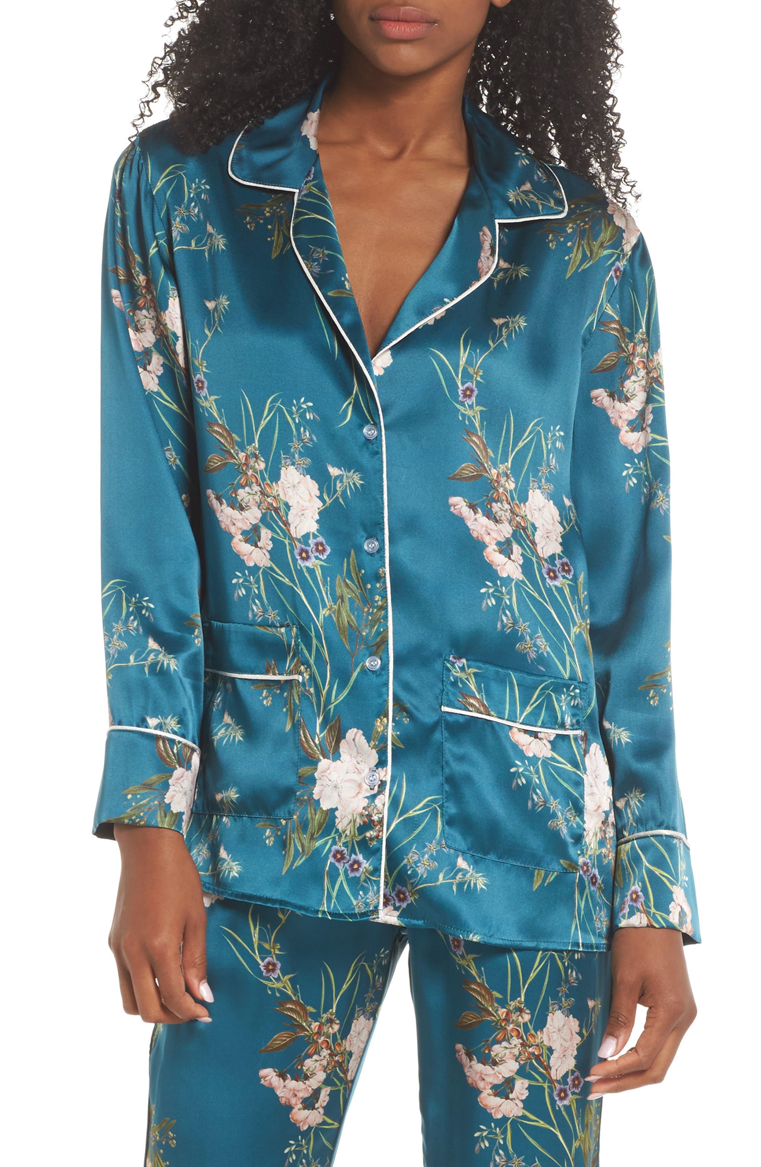 Jenny Silk Pajama Top,                             Main thumbnail 1, color,                             442