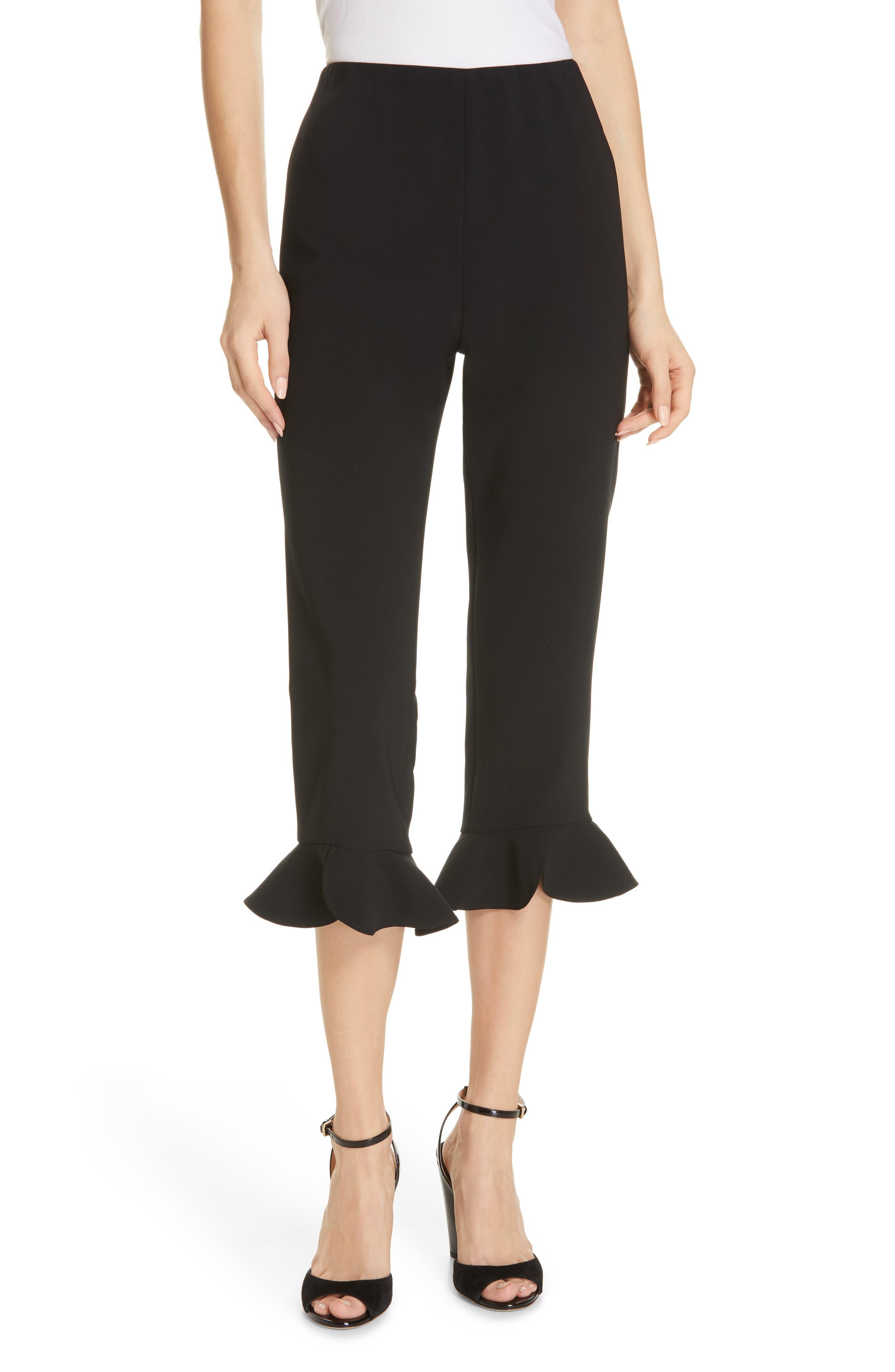 ALICE + OLIVIA Alena Ruffle Hem Crop Pants, Main, color, BLACK