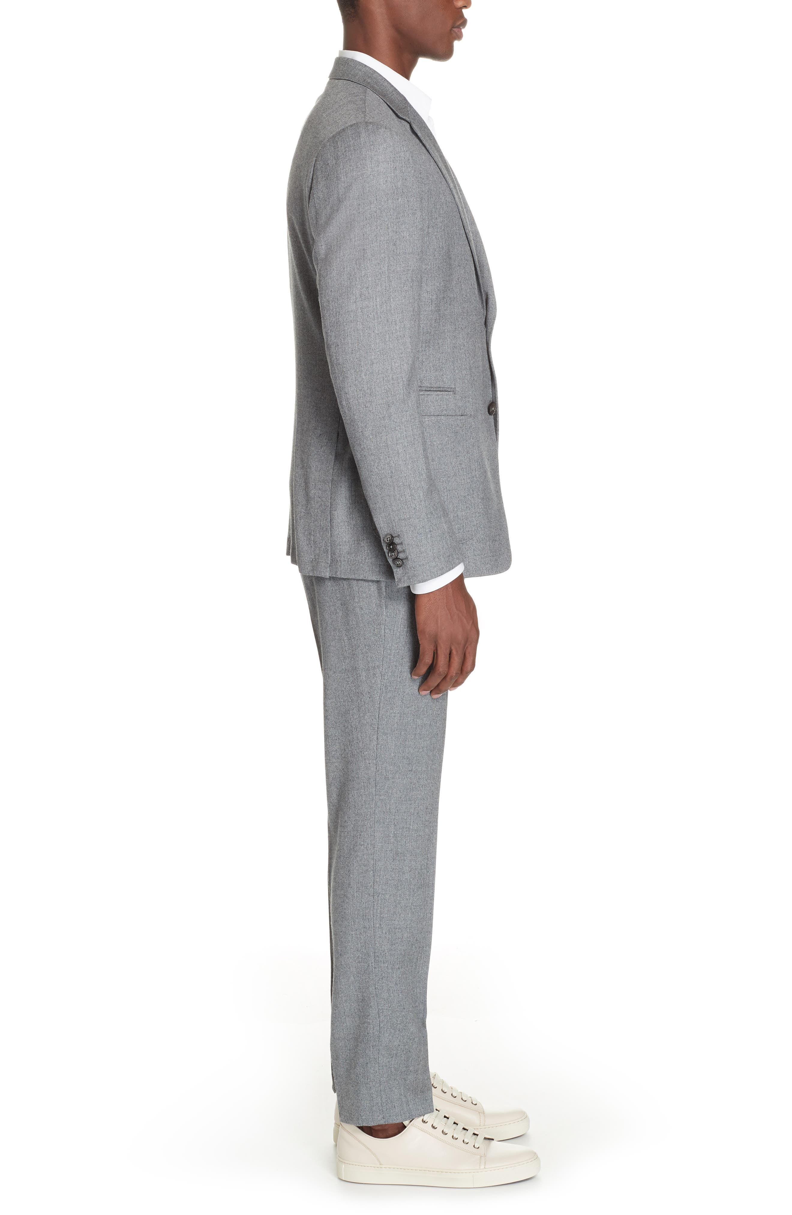 Wash and Go Trim Fit Solid Wool Suit,                             Alternate thumbnail 3, color,                             SILVER