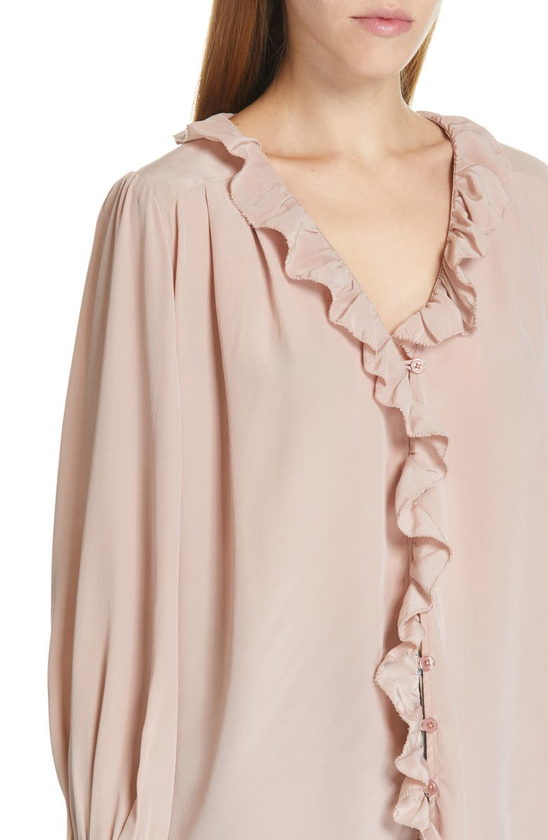 SEA Santorini Ruffle Trim Silk Blouse, Alternate, color, BLUSH