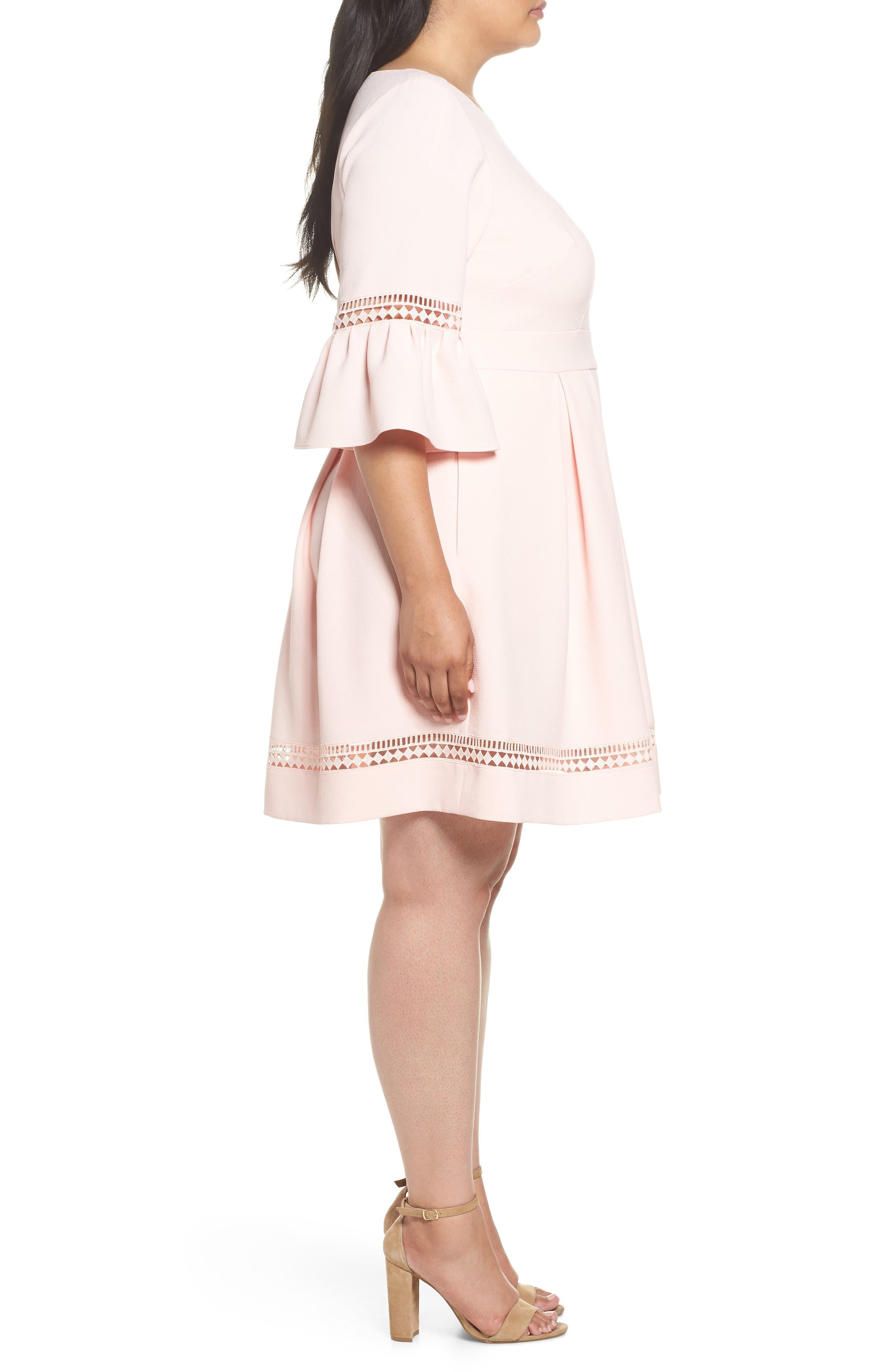 Bell Sleeve Fit & Flare Dress,                             Alternate thumbnail 3, color,                             BLUSH