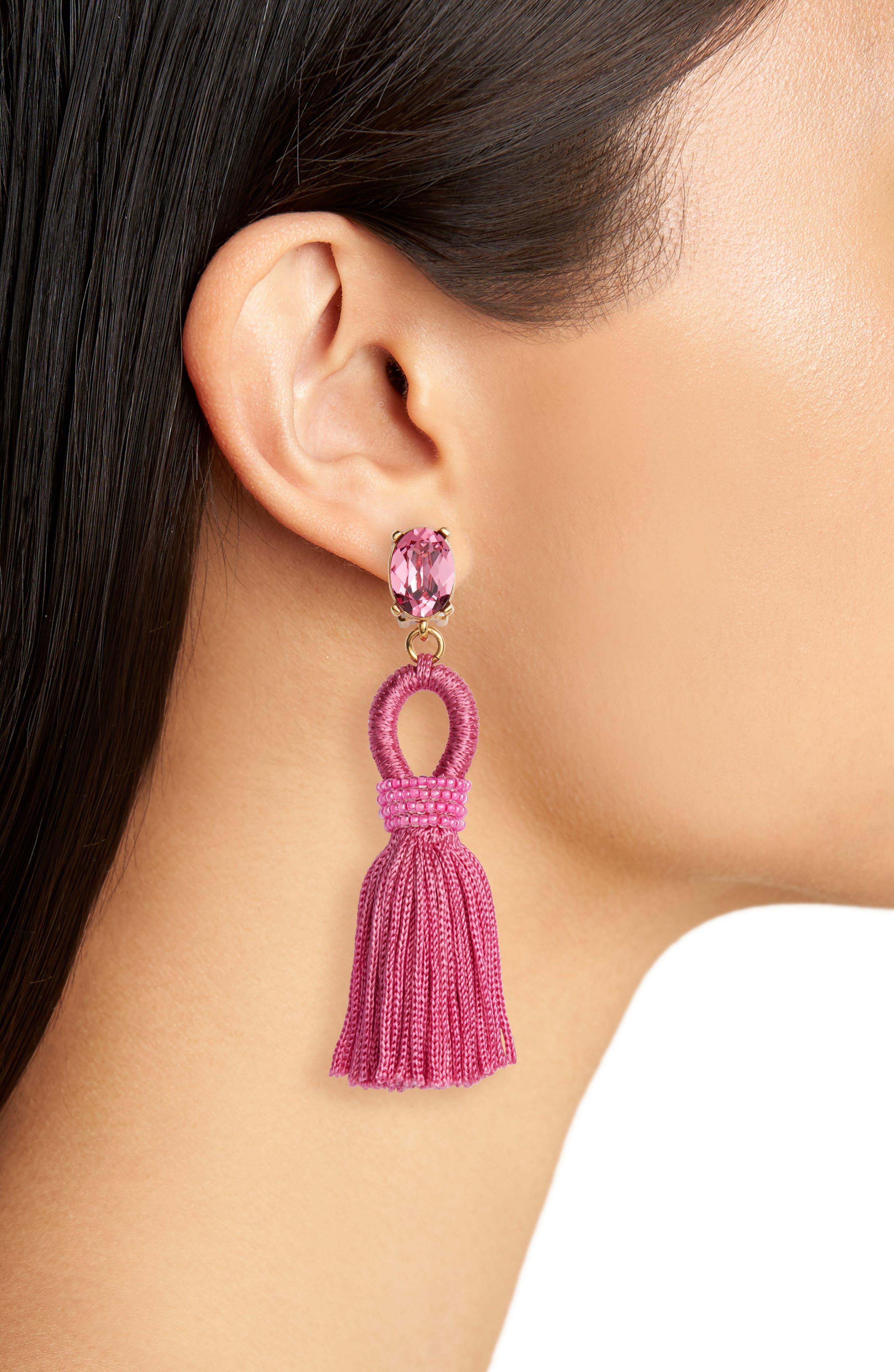 Silk Tassel Drop Earrings,                             Alternate thumbnail 10, color,