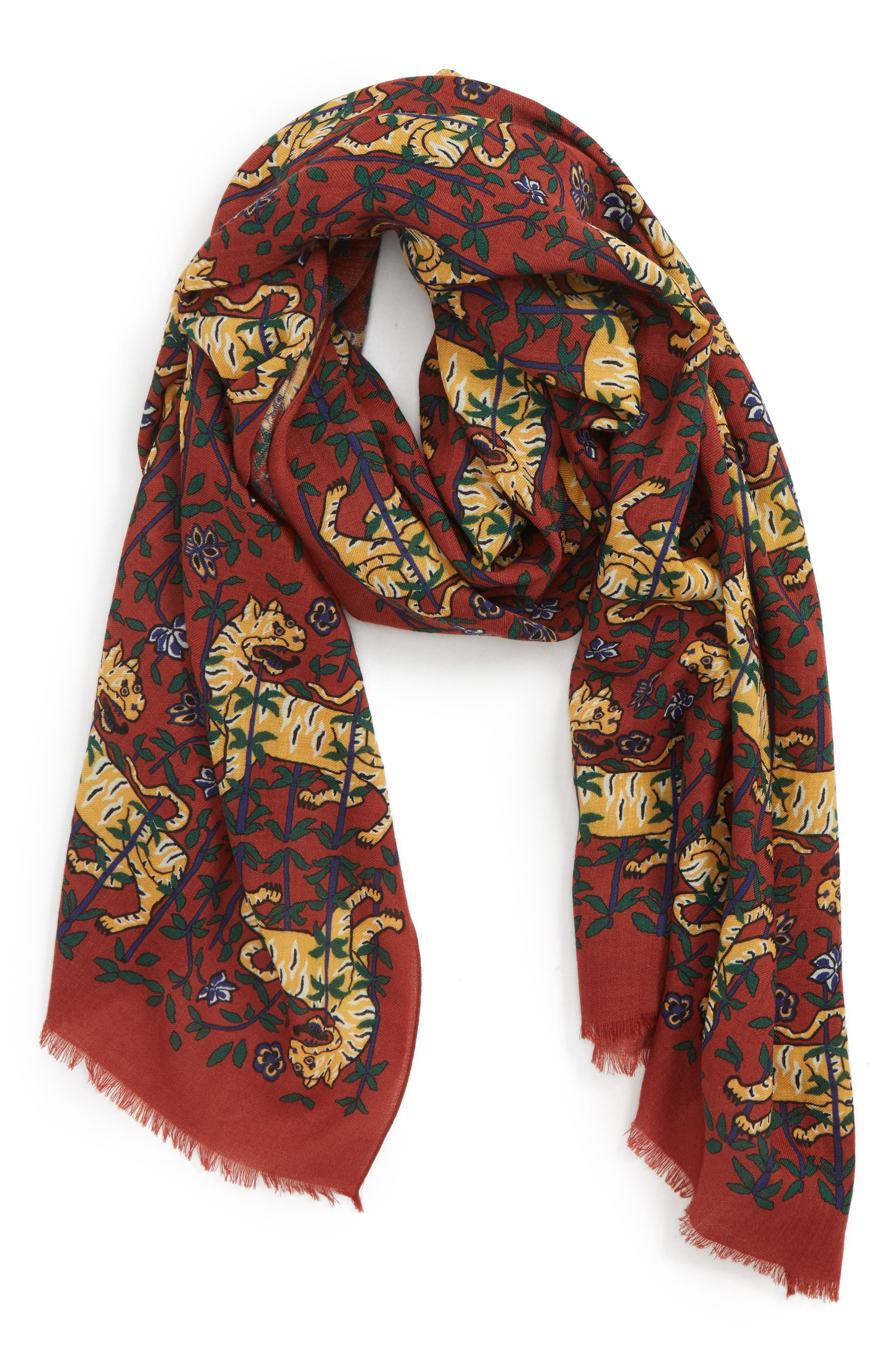 Drakes Tiger Print Wool Scarf,                             Main thumbnail 1, color,                             BURGUNDY
