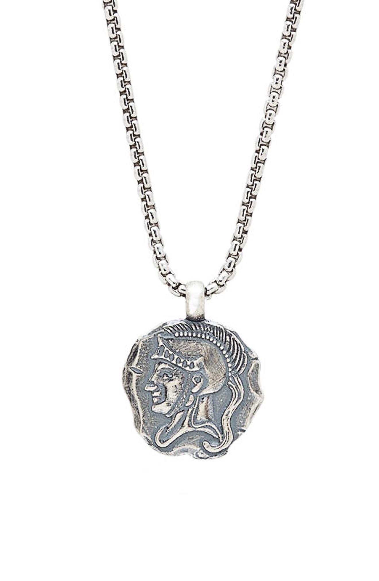Spartan Pendant Necklace,                             Main thumbnail 1, color,                             SILVER