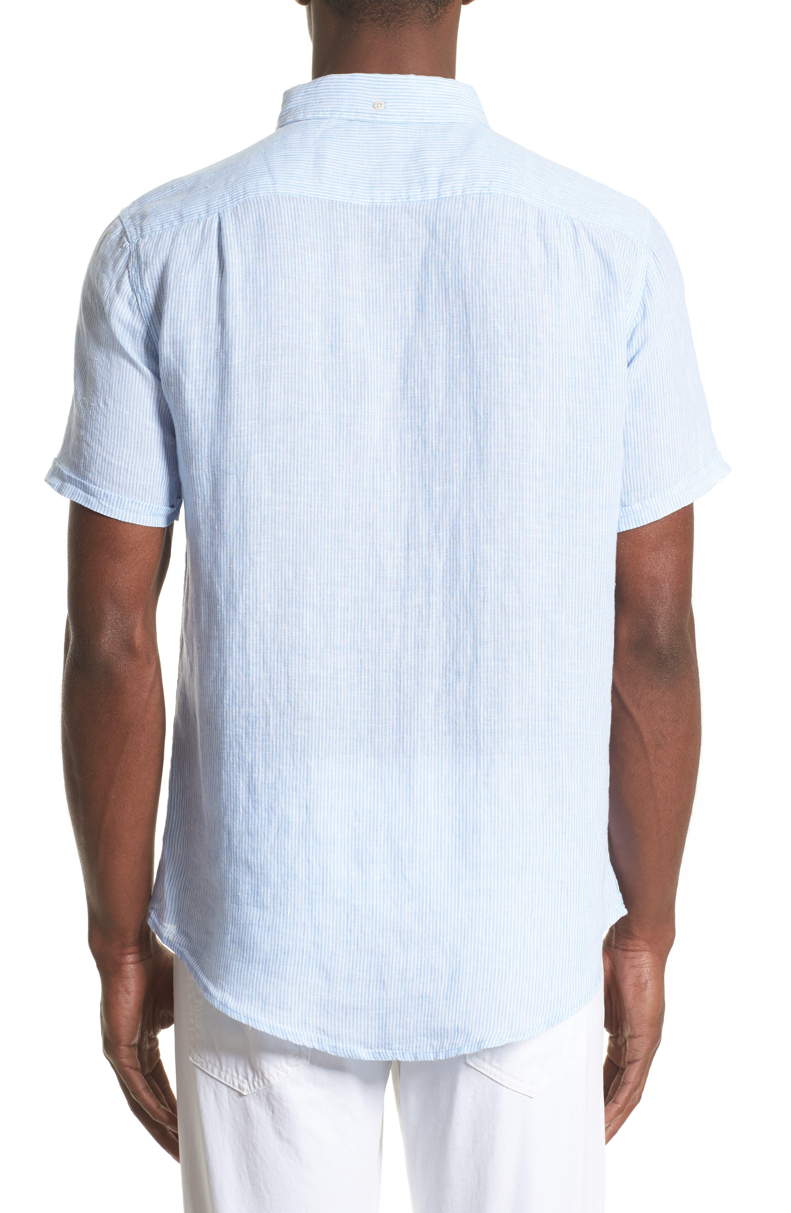 Trim Fit Microstripe Linen Shirt,                             Alternate thumbnail 6, color,
