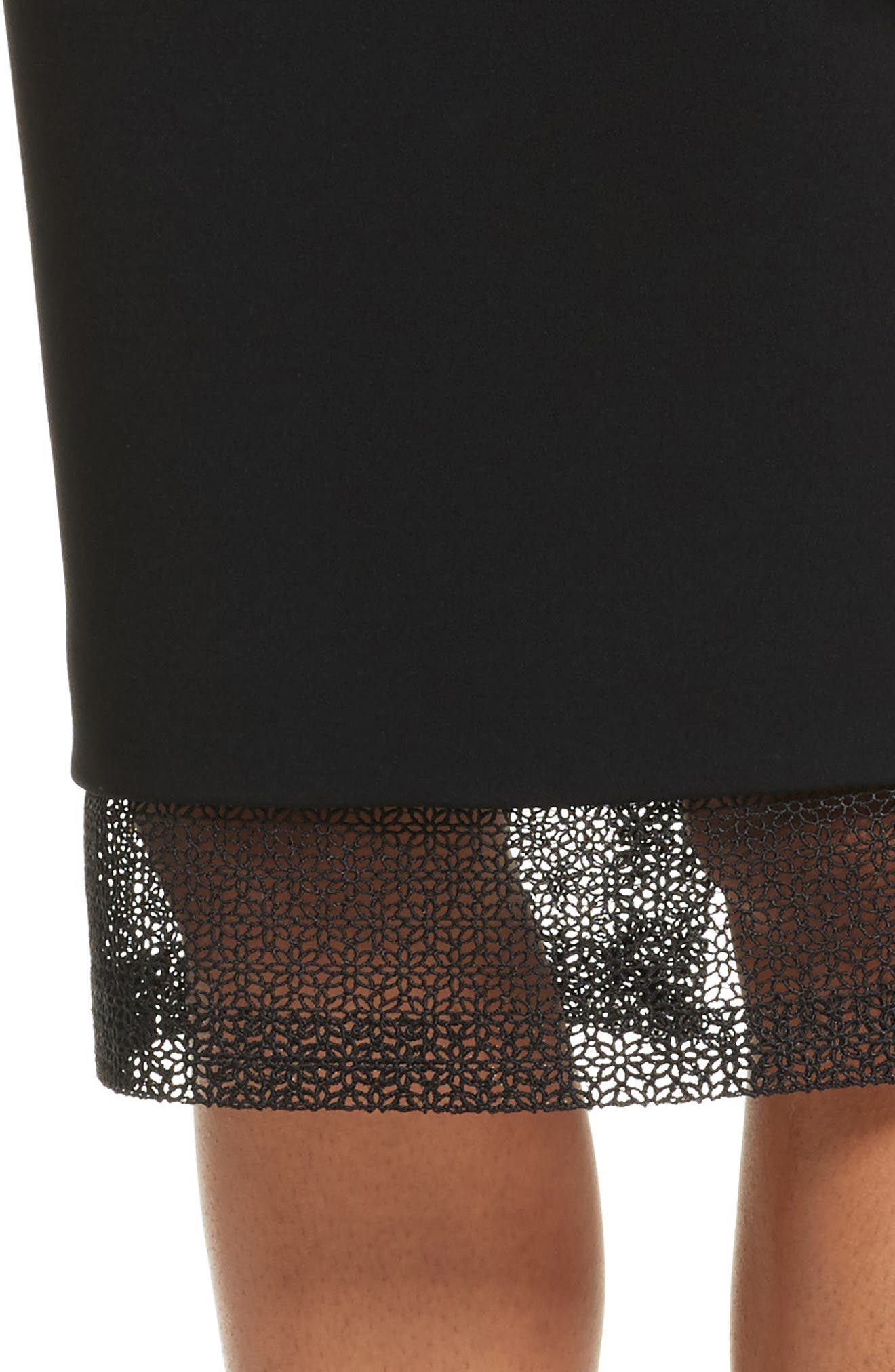 Lace Detail Pencil Skirt,                             Alternate thumbnail 4, color,                             001