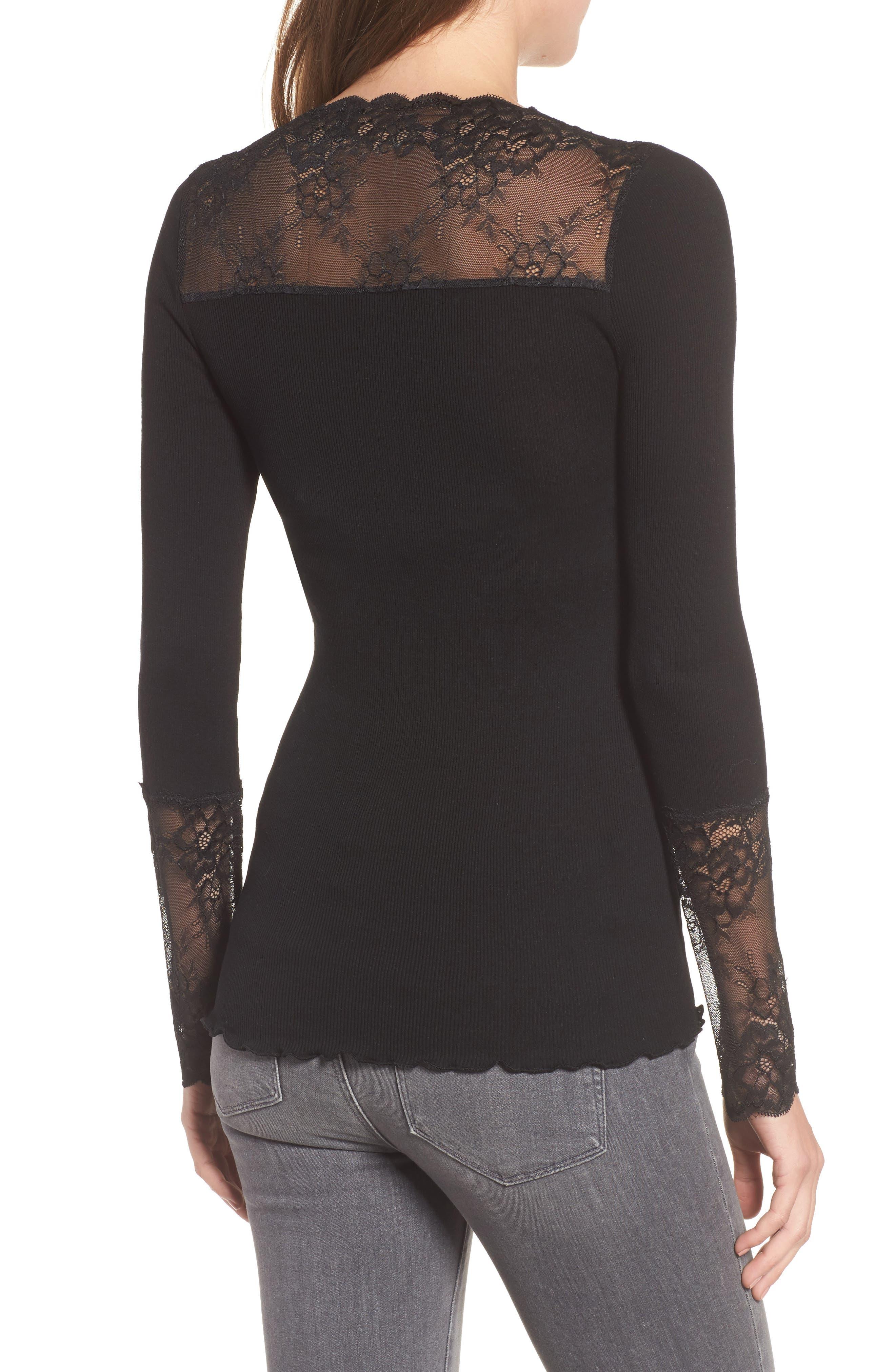Brigit Lace Embellished Silk Blend Top,                             Alternate thumbnail 2, color,                             BLACK