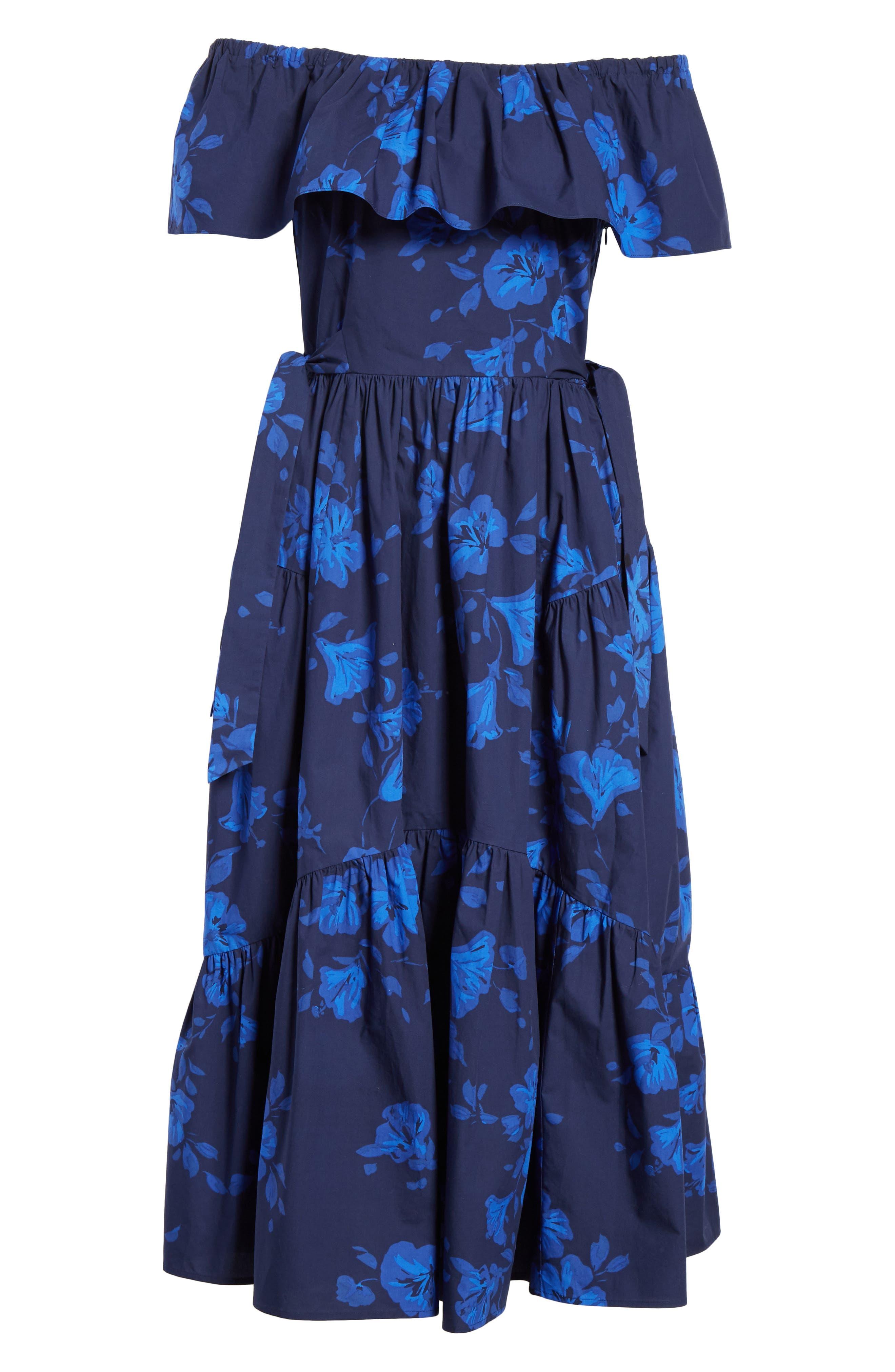 hibiscus off the shoulder cotton dress,                             Alternate thumbnail 7, color,