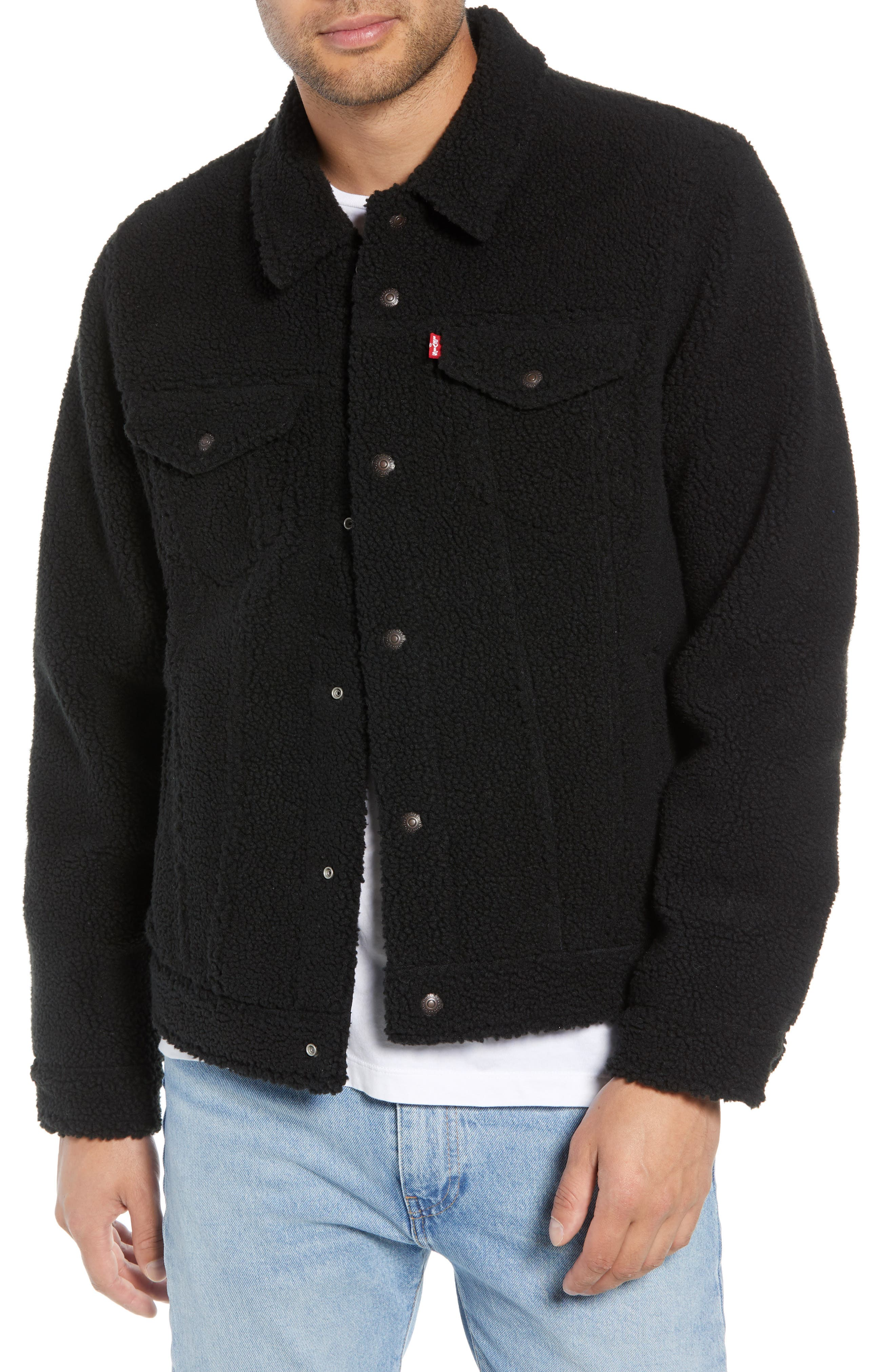 Fleece Trucker Jacket,                         Main,                         color, BLACK