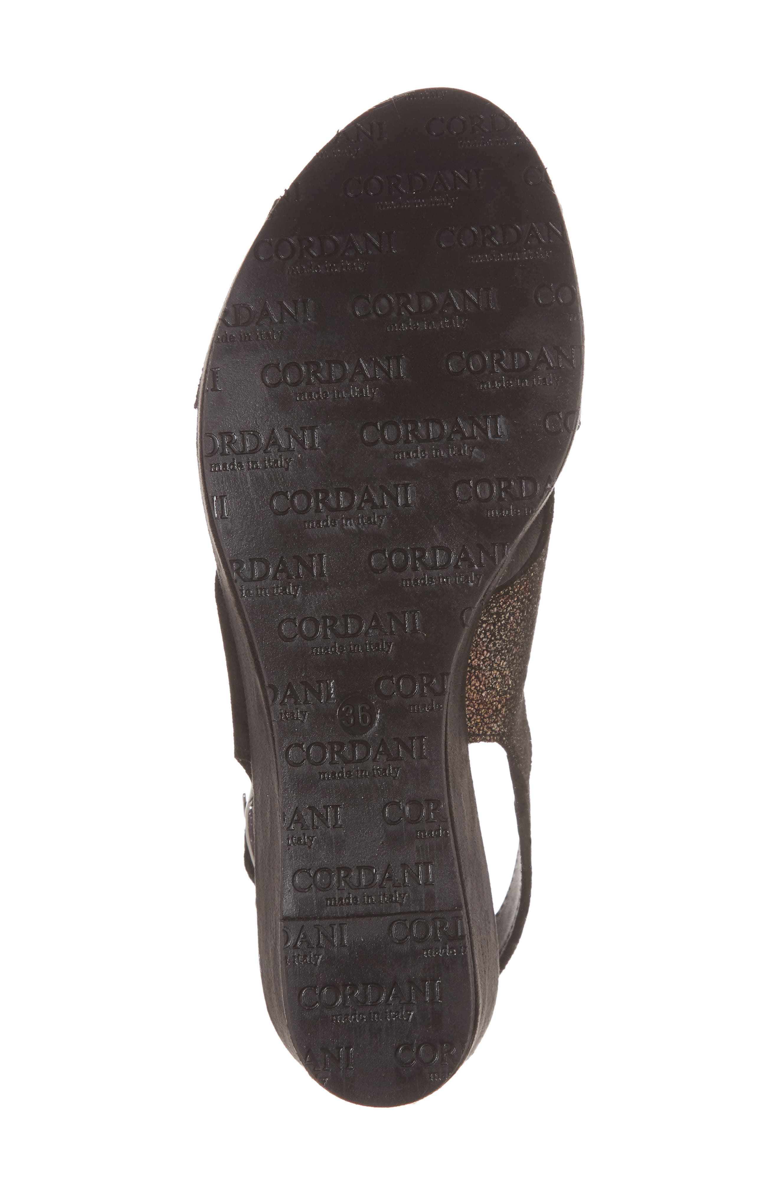 Cleary Wedge Sandal,                             Alternate thumbnail 6, color,                             BLACK/ PEWTER SUEDE
