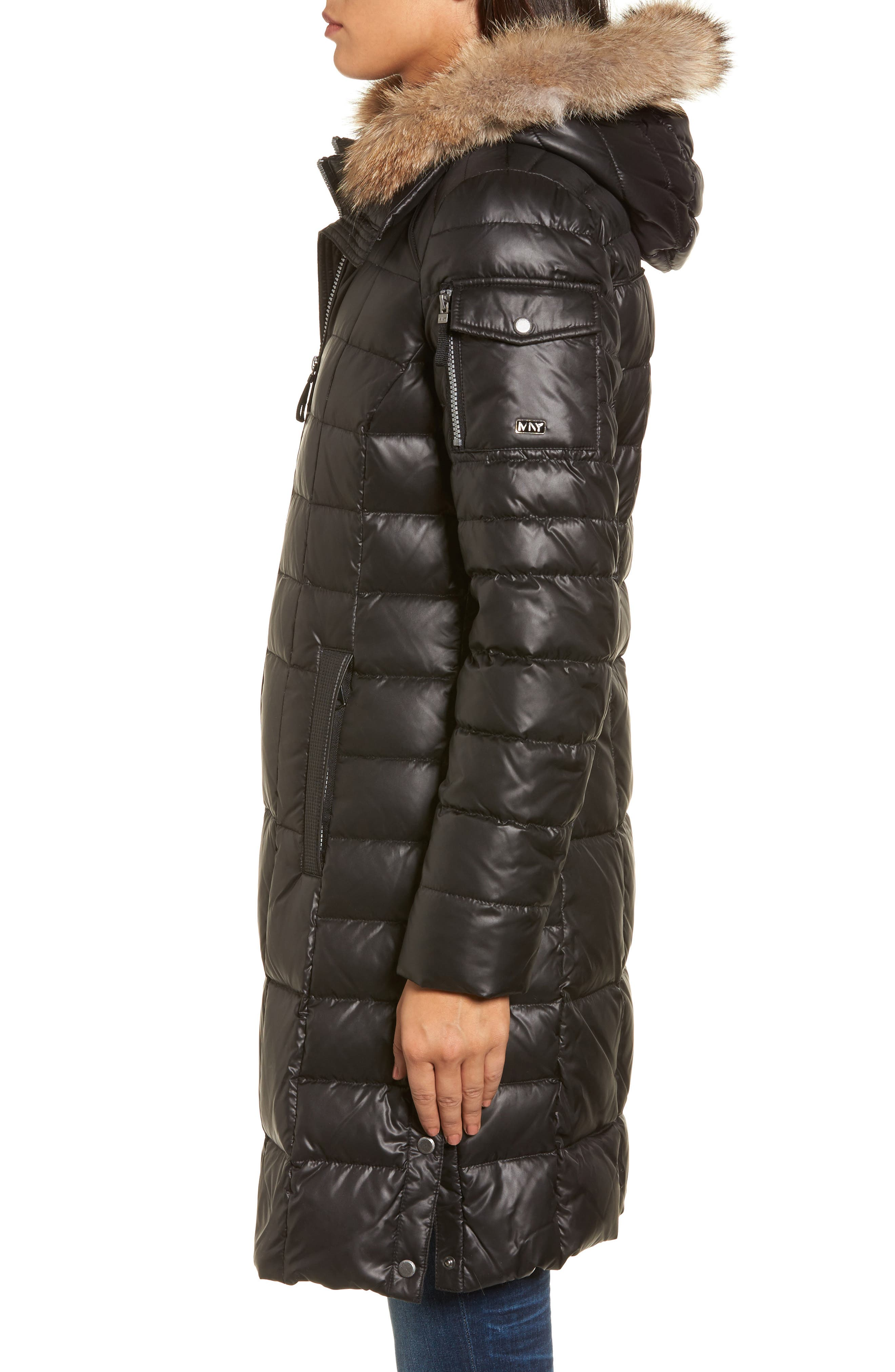 Quilted Coat with Genuine Coyote Fur,                             Alternate thumbnail 3, color,                             001