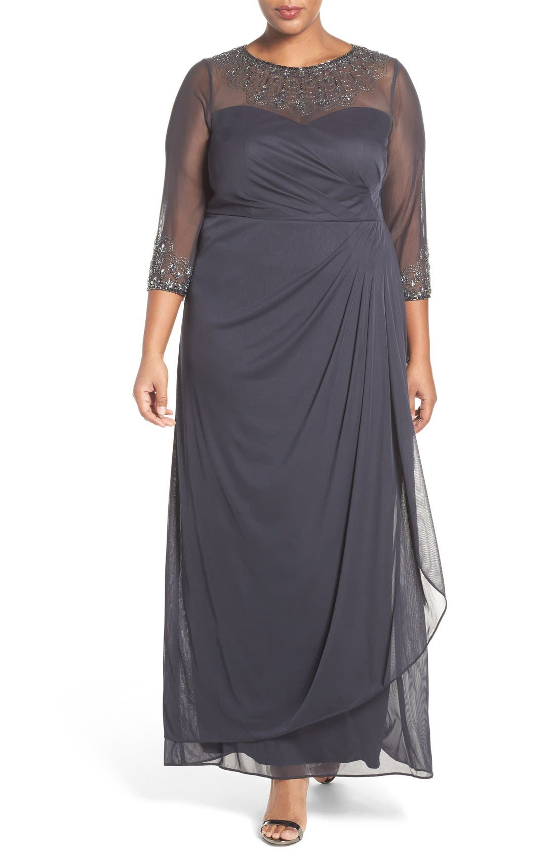 Beaded Illusion Neck A-Line Gown,                             Main thumbnail 2, color,