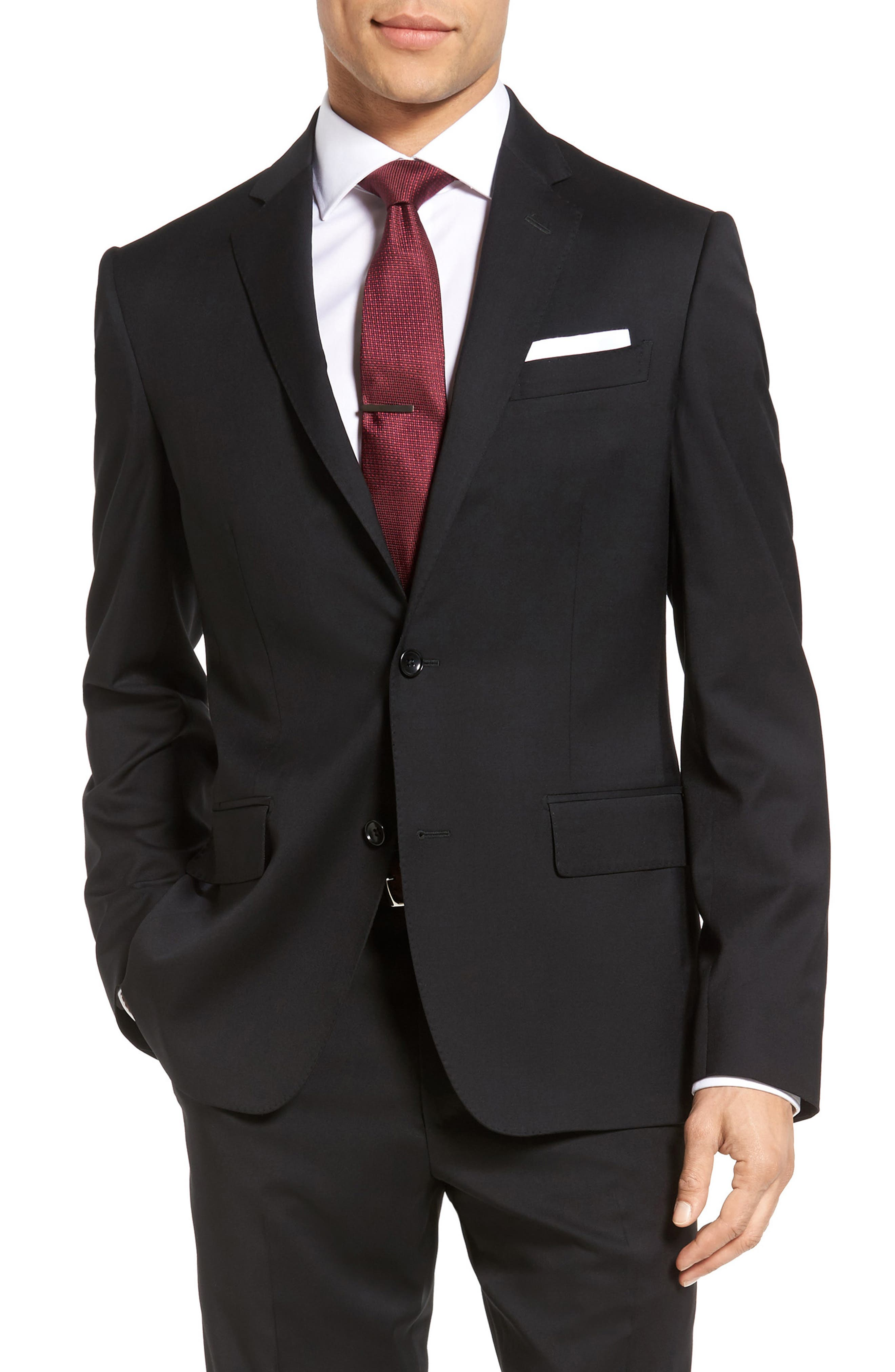 Classic Fit Solid Wool Suit,                             Alternate thumbnail 5, color,                             001