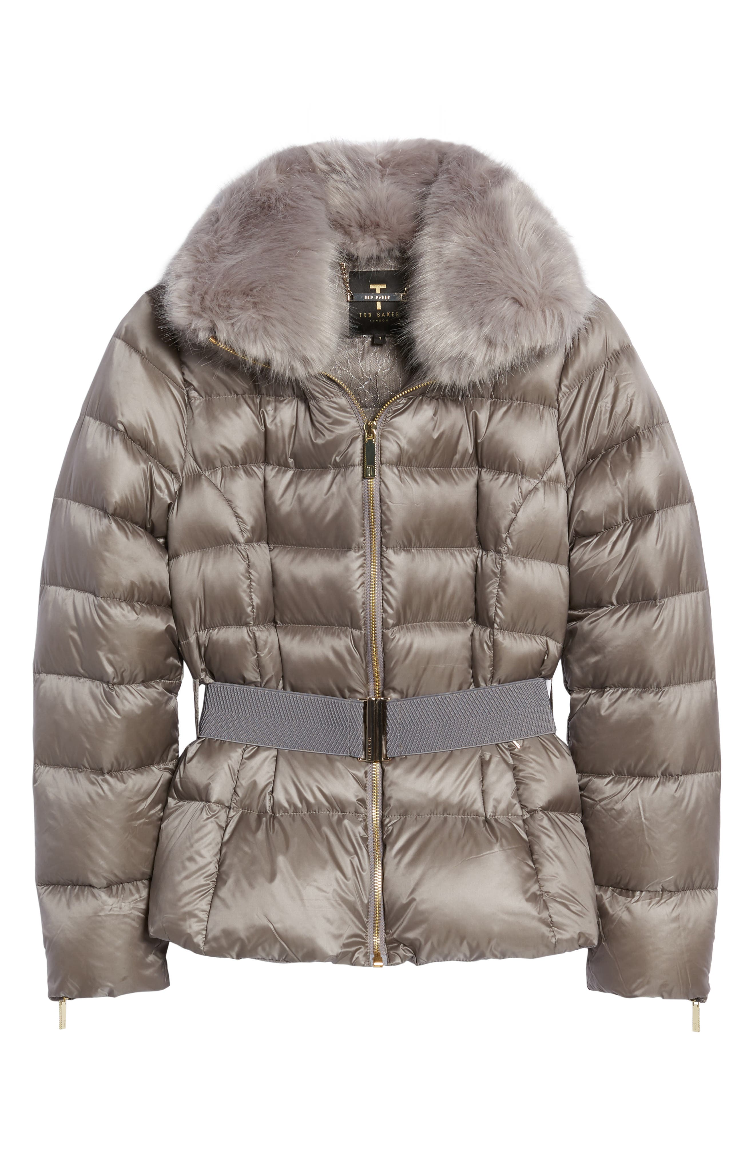 Puffer Jacket with Faux Fur Collar,                             Alternate thumbnail 5, color,                             050