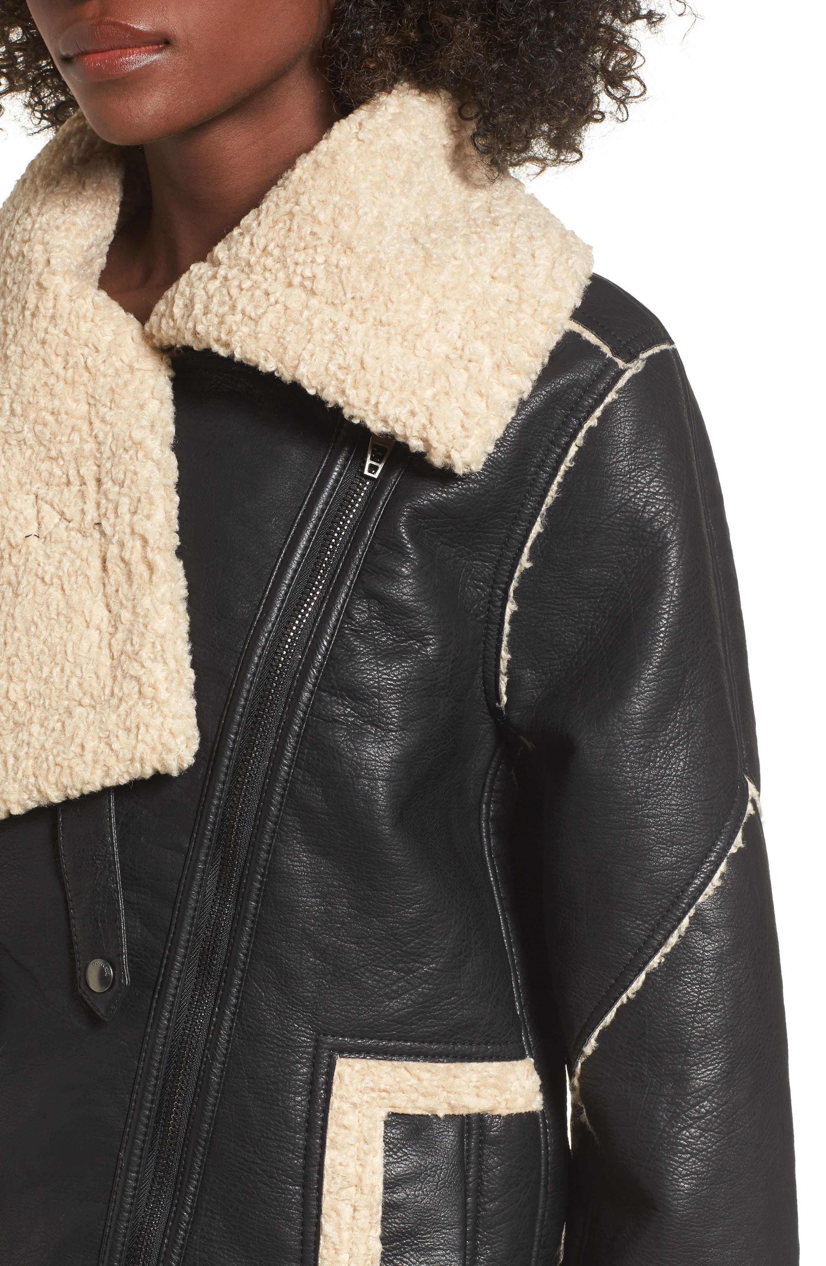 Faux Shearling & Faux Leather Jacket,                             Alternate thumbnail 4, color,