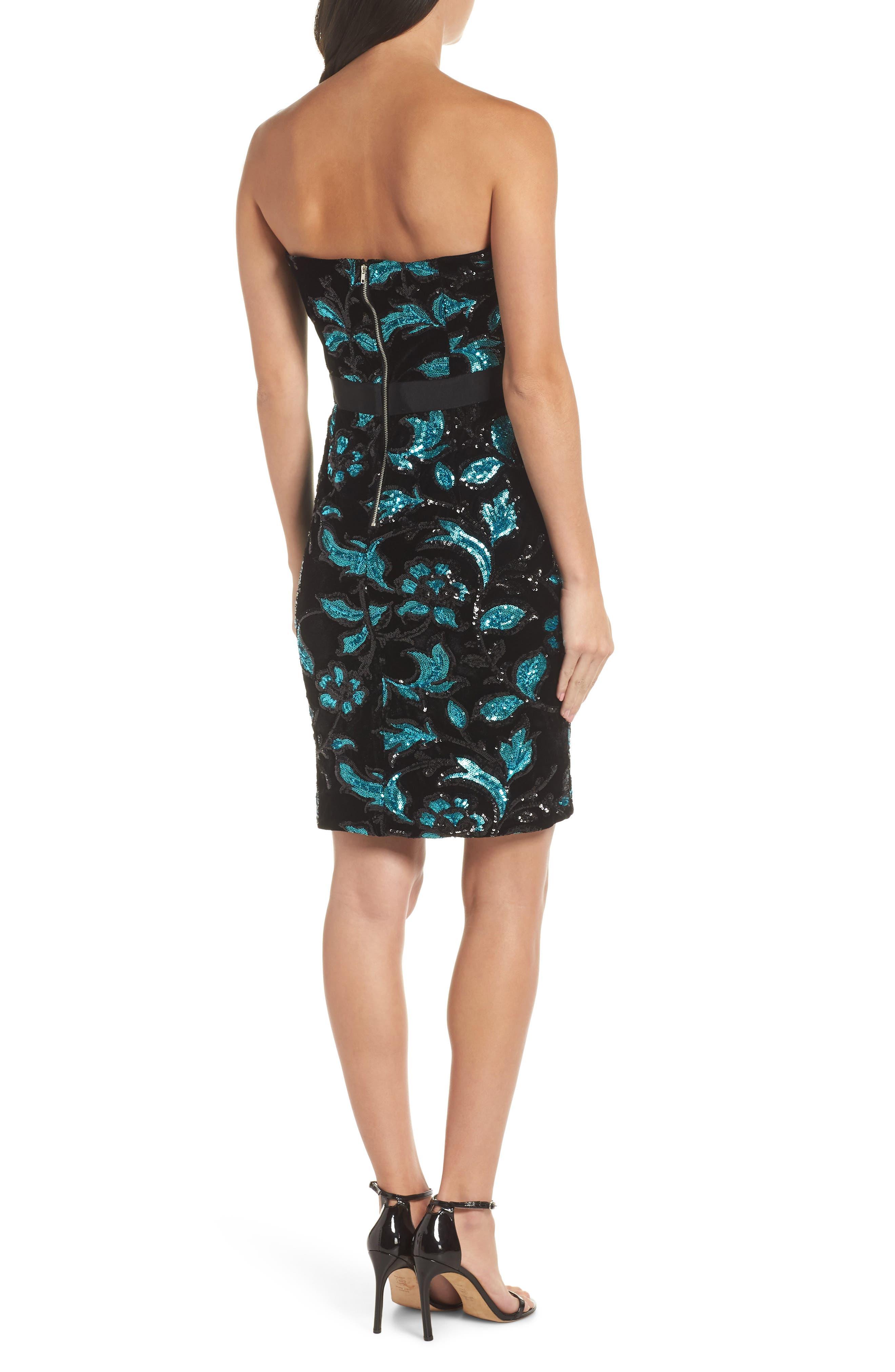 Strapless Sequin Velvet Sheath Dress,                             Alternate thumbnail 2, color,                             BLACK/ TEAL
