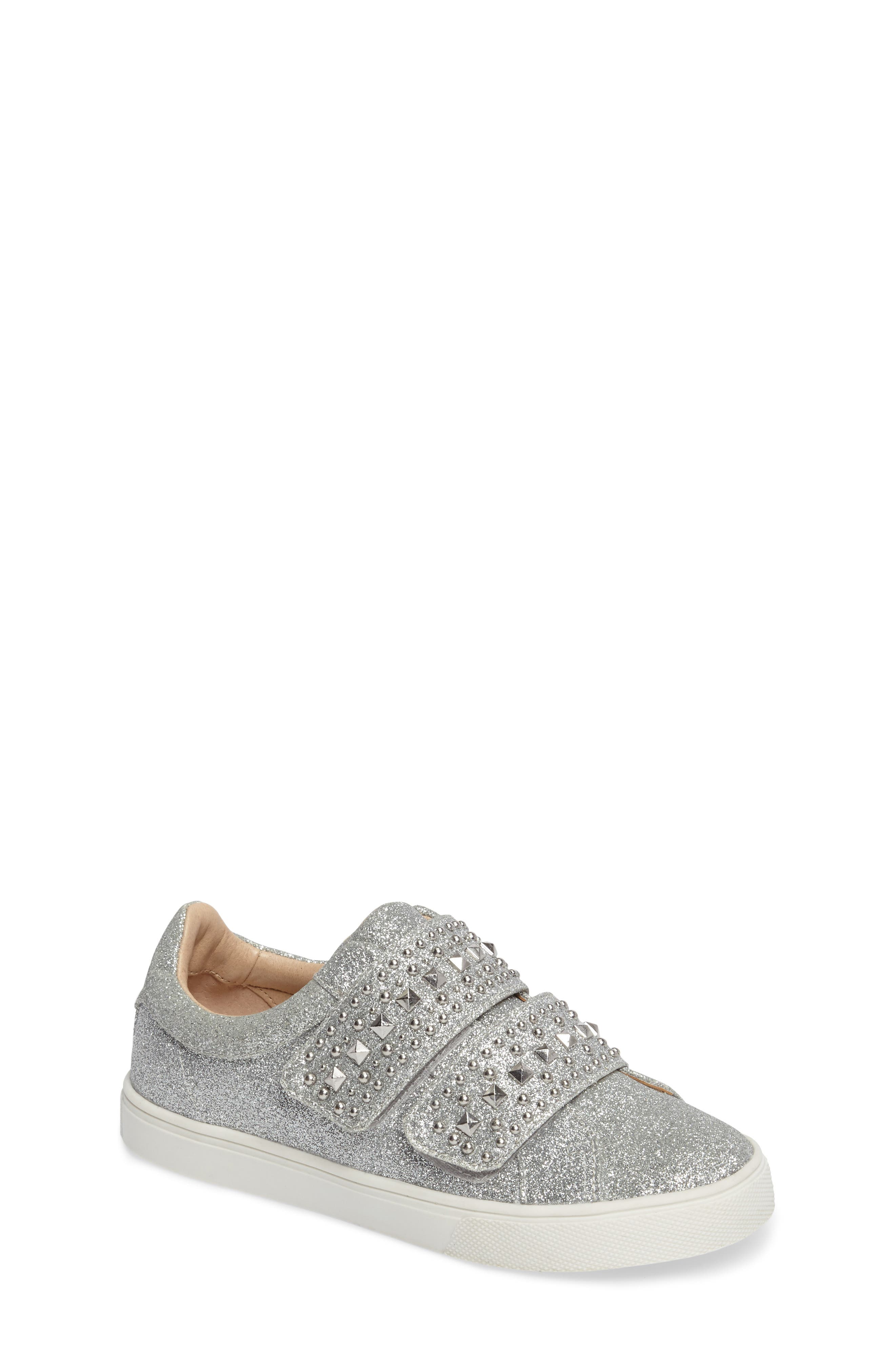 Baylen Embellished Glitter Sneaker,                             Main thumbnail 1, color,                             SILVER GLITTER