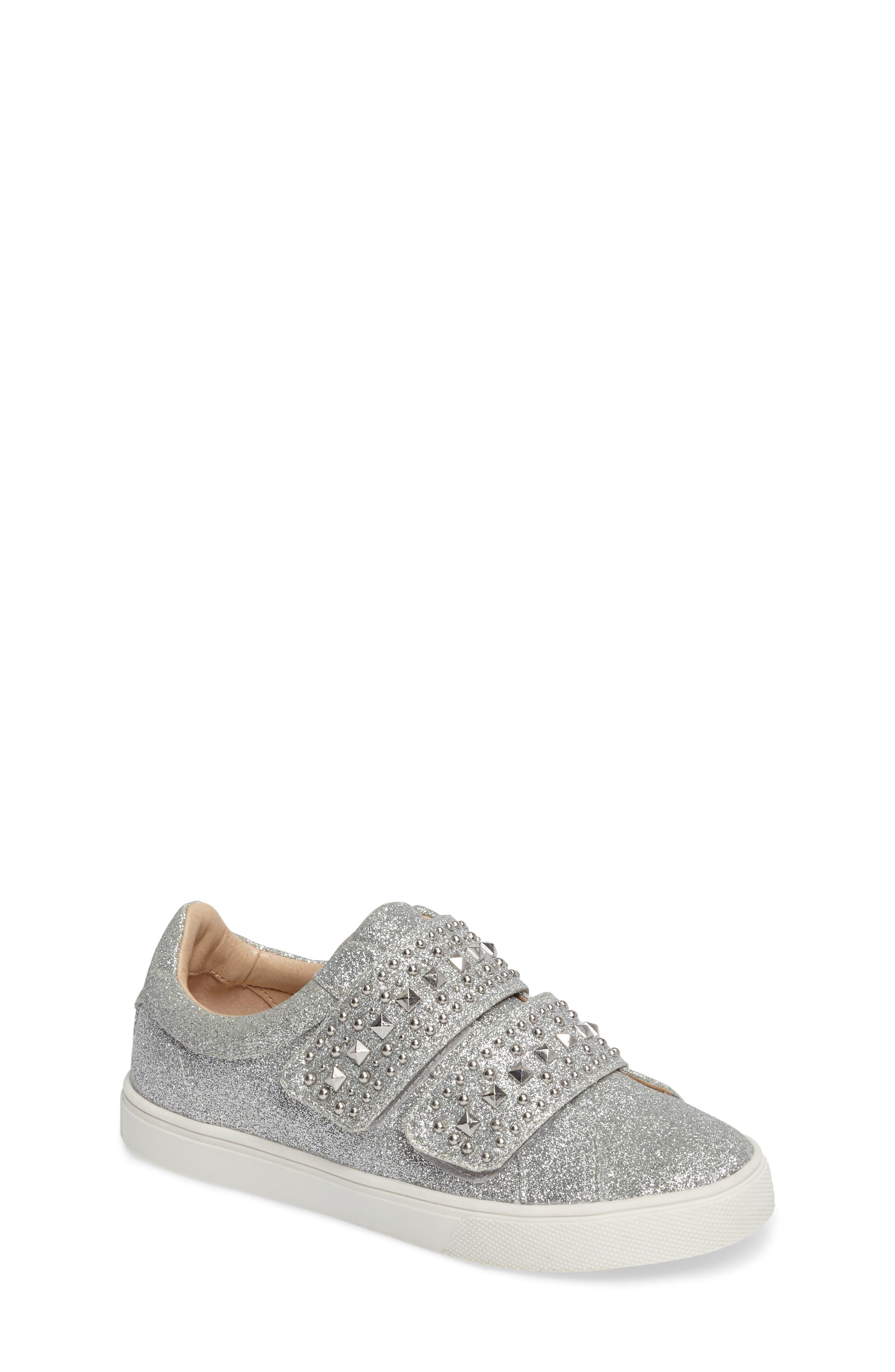 Baylen Embellished Glitter Sneaker,                         Main,                         color, SILVER GLITTER