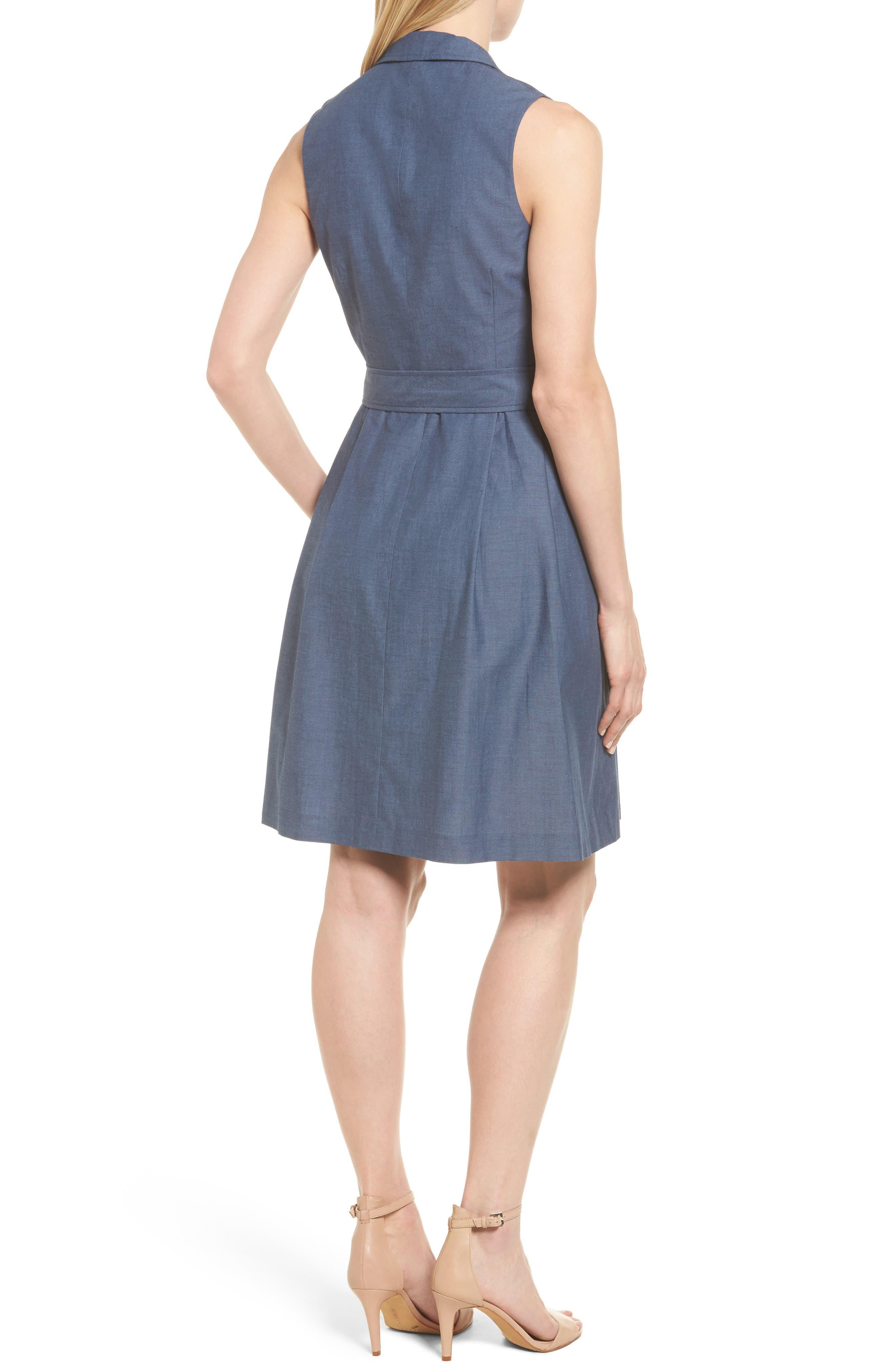 Denim Faux Wrap Dress,                             Alternate thumbnail 2, color,