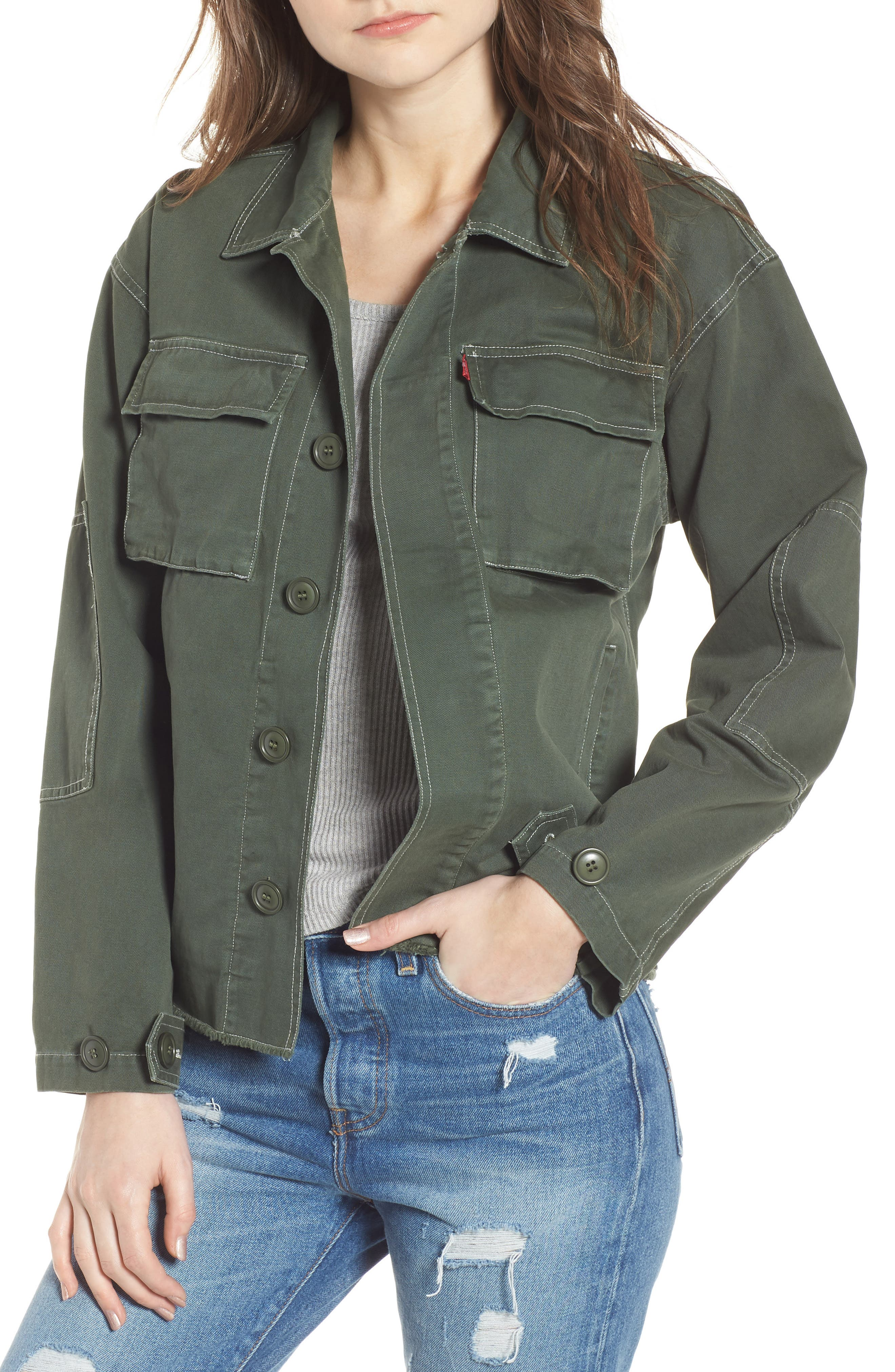 Cotton Shirt Jacket,                         Main,                         color, OLIVE