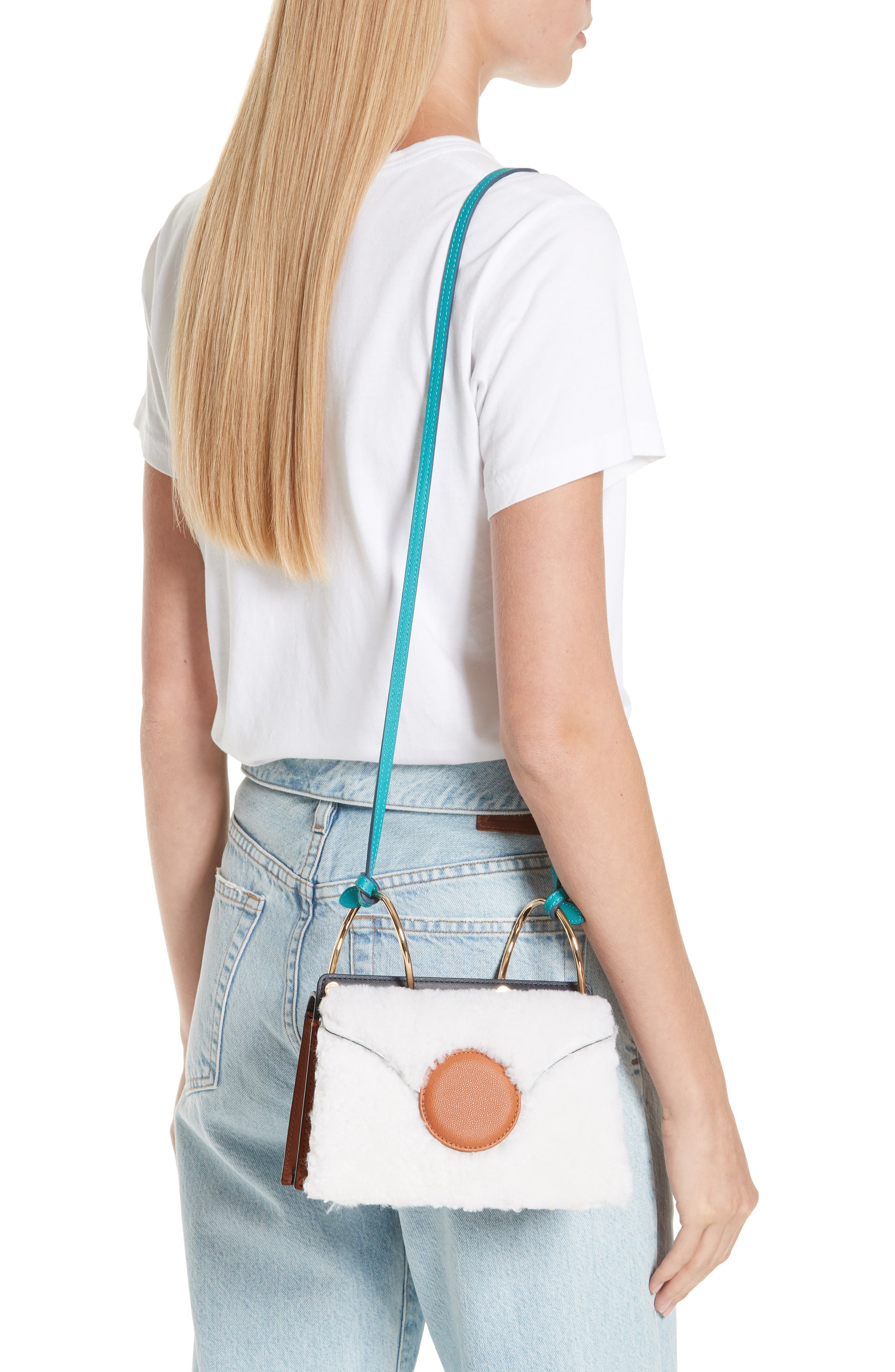 Mini Phoebe Leather Bag,                             Alternate thumbnail 2, color,                             CURLY SHEARLING WHITE-MARINE