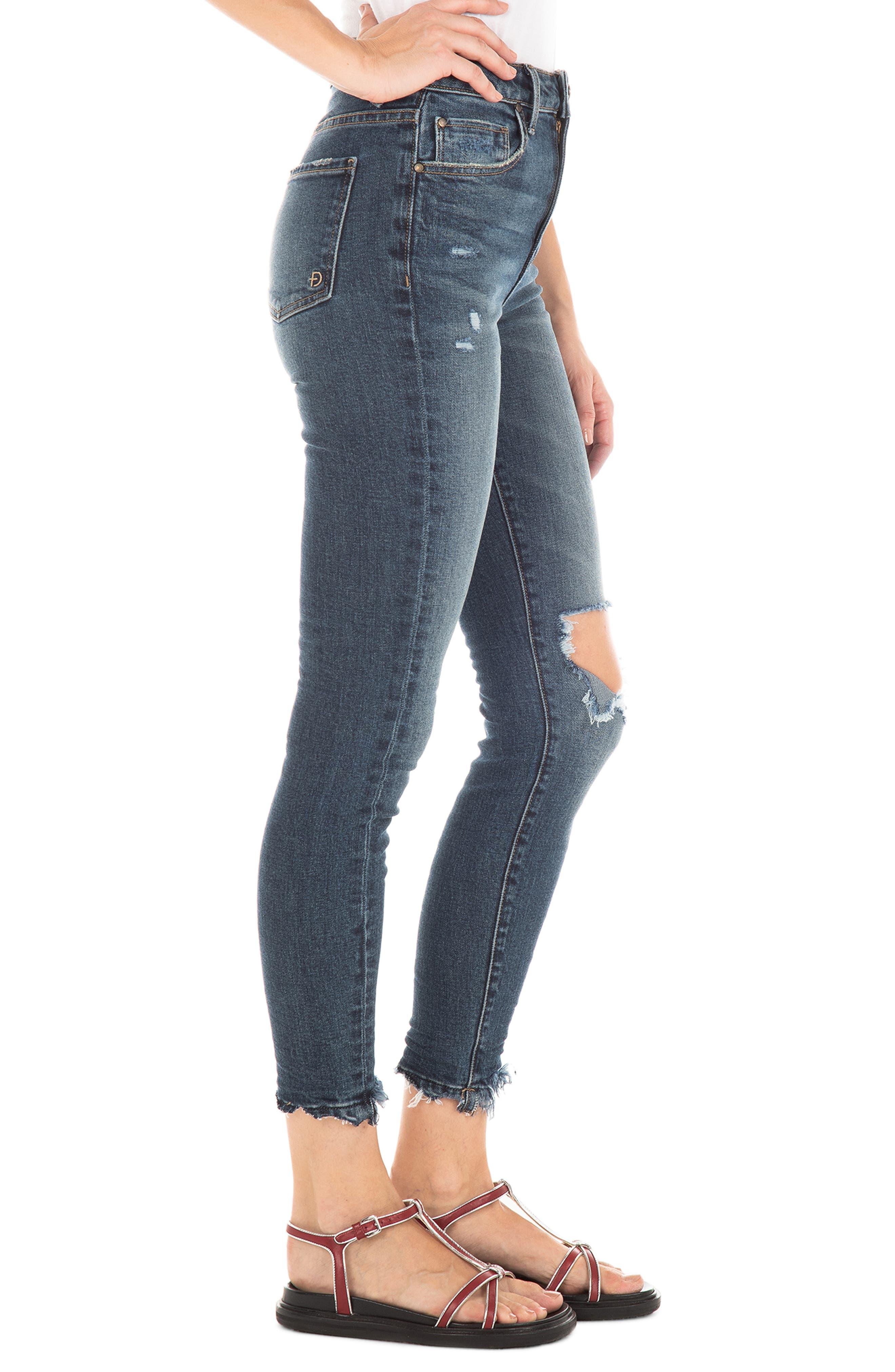 FIDELITY DENIM,                             Luna Ripped High Waist Crop Skinny Jeans,                             Alternate thumbnail 3, color,                             ROCKAWAY BLUE