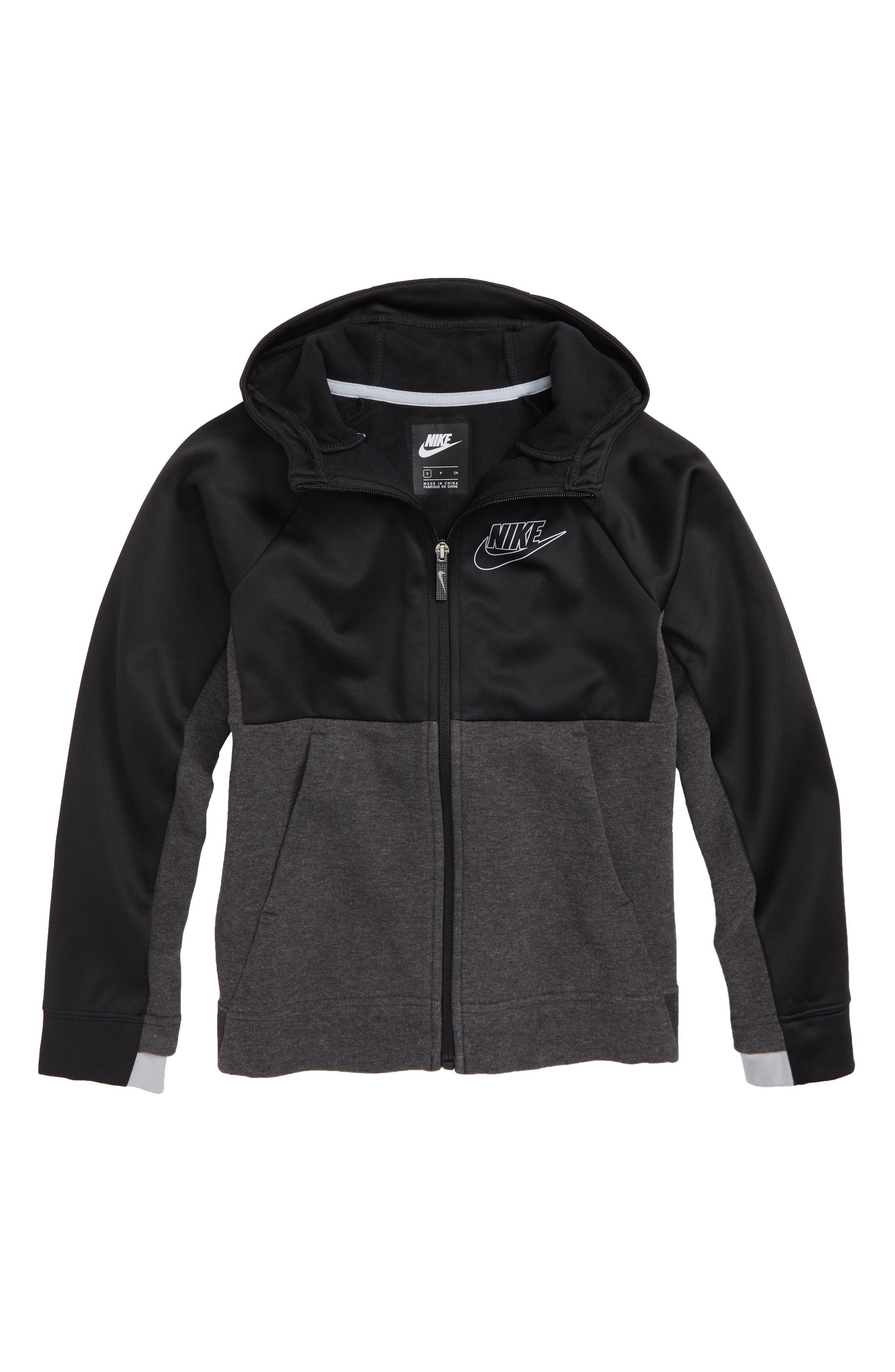 Colorblock Zip Front Hoodie,                         Main,                         color, BLACK/ WOLF GREY