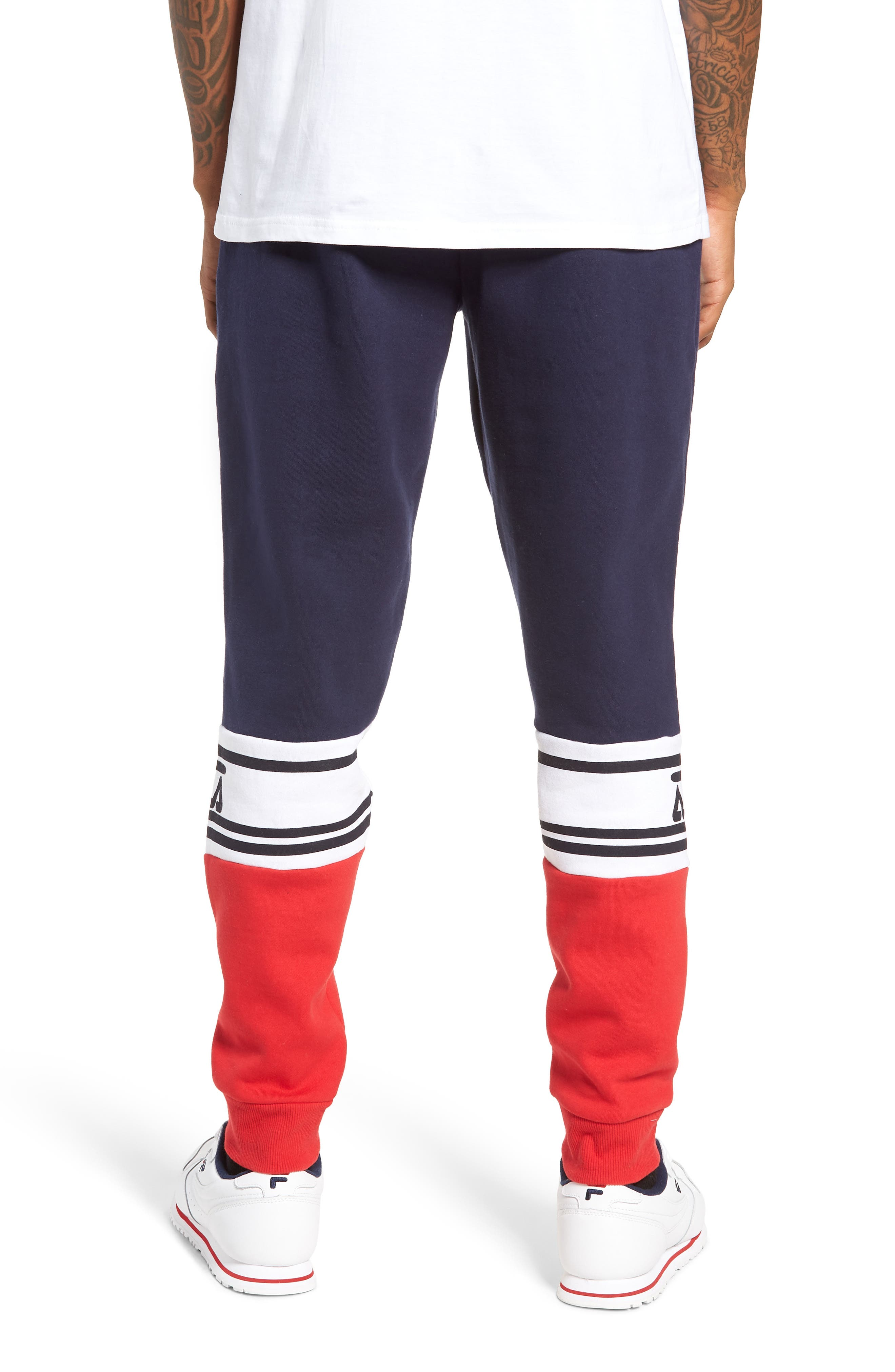Tricolor Jogger Pants,                             Alternate thumbnail 2, color,                             PEACOAT/ CHINESE RED