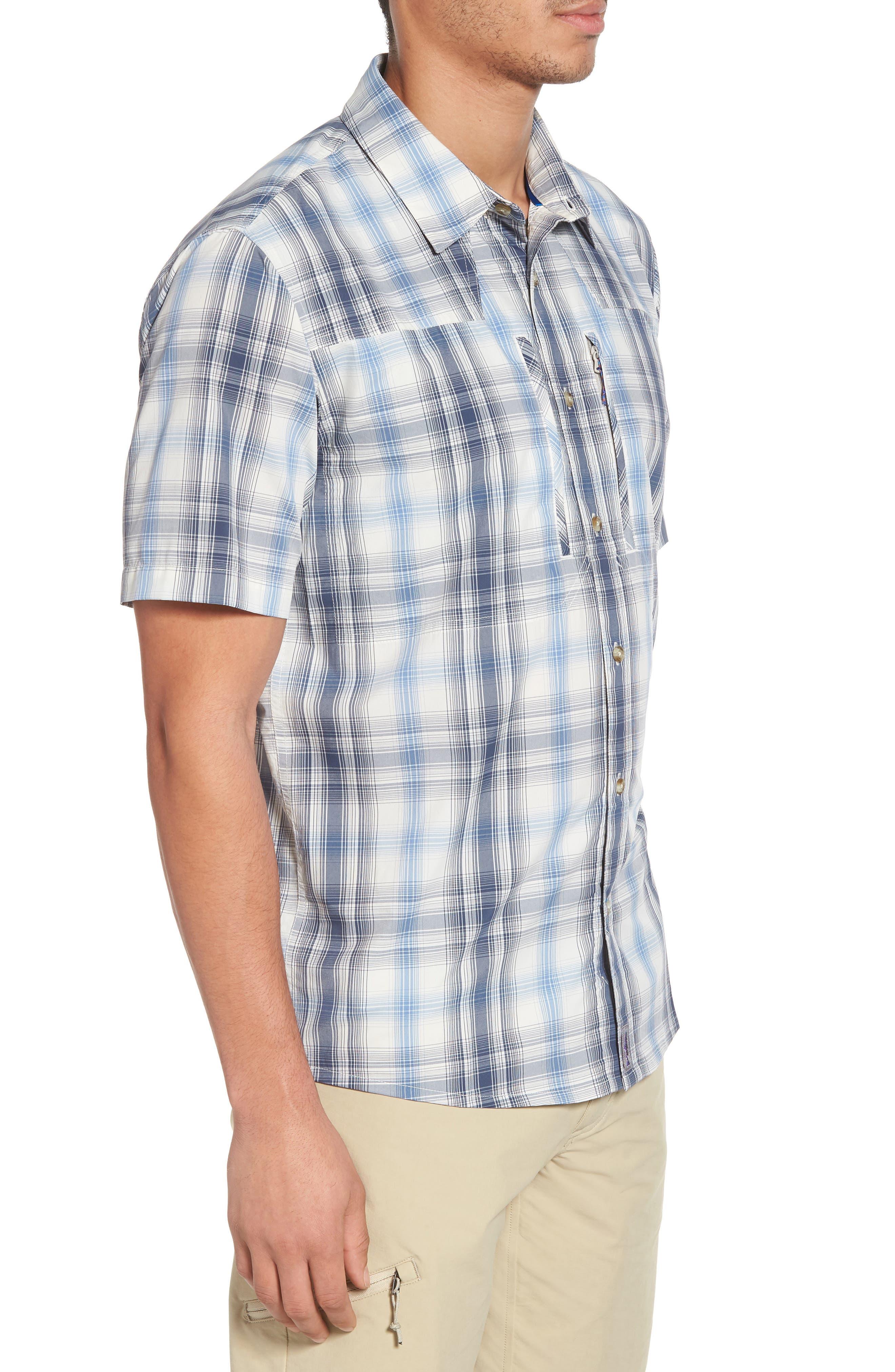 M's Sun Plaid Stretch Hybrid Shirt,                             Alternate thumbnail 3, color,                             KING SWING RADAR BLUE