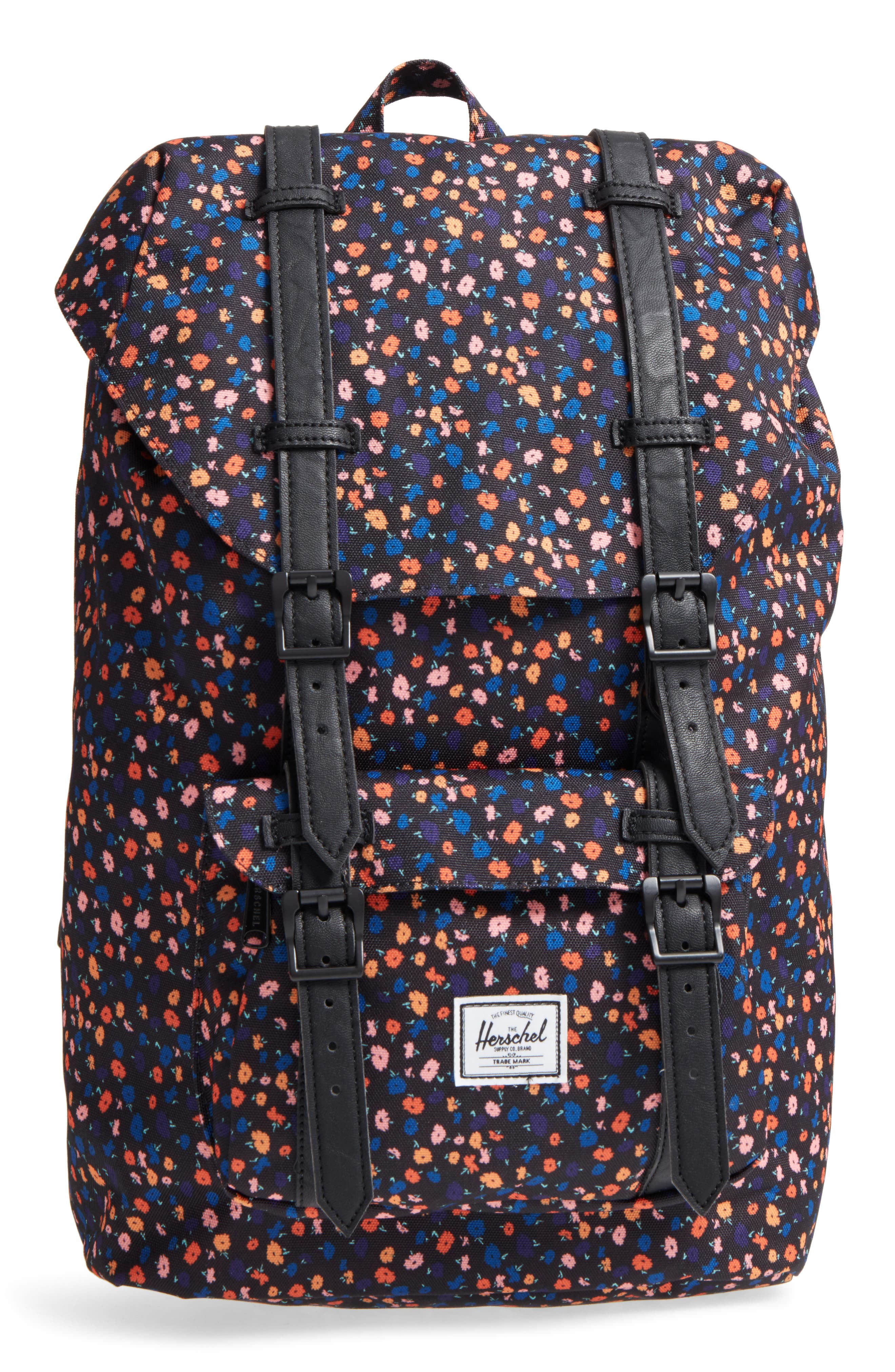 Little America - Mid Volume Backpack,                         Main,                         color, BLACK MINI FLORAL