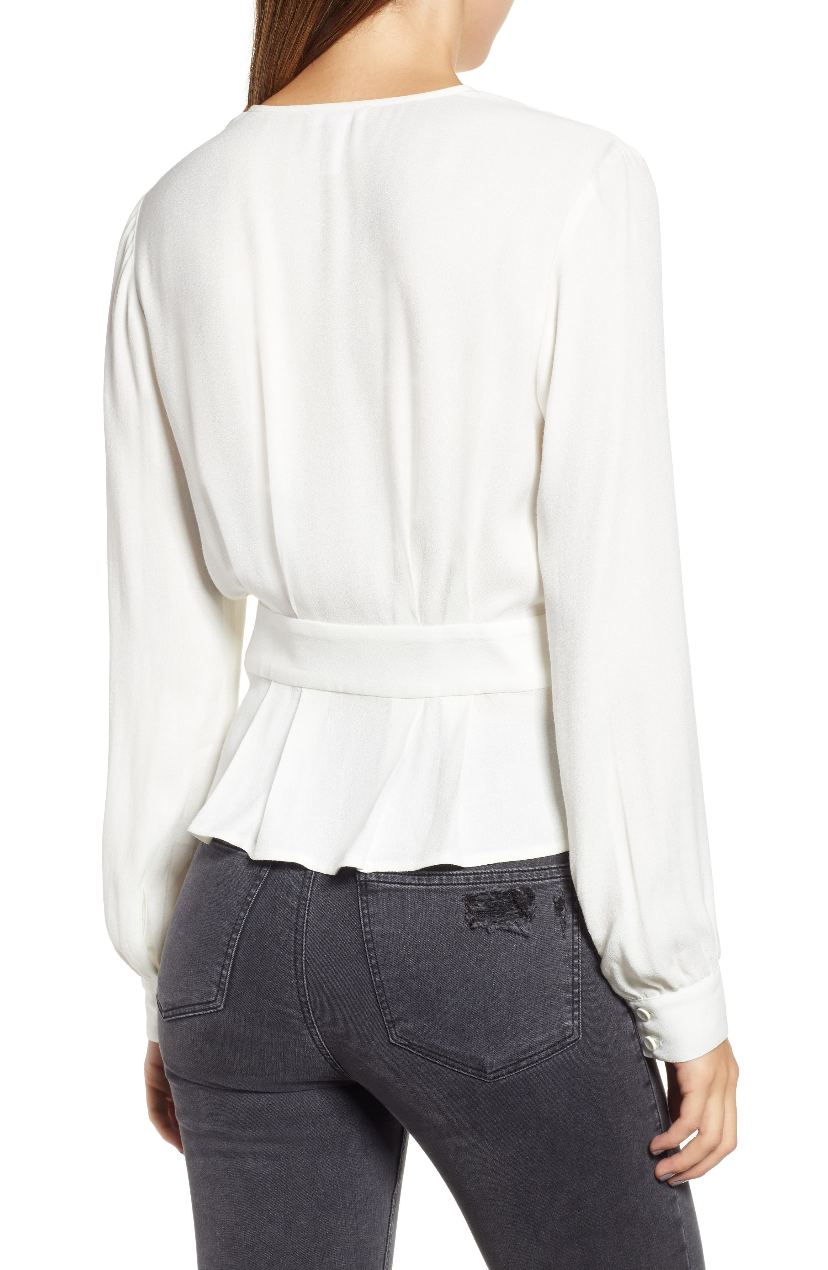 LEITH,                             Button Detail Wrap Top,                             Alternate thumbnail 2, color,                             IVORY