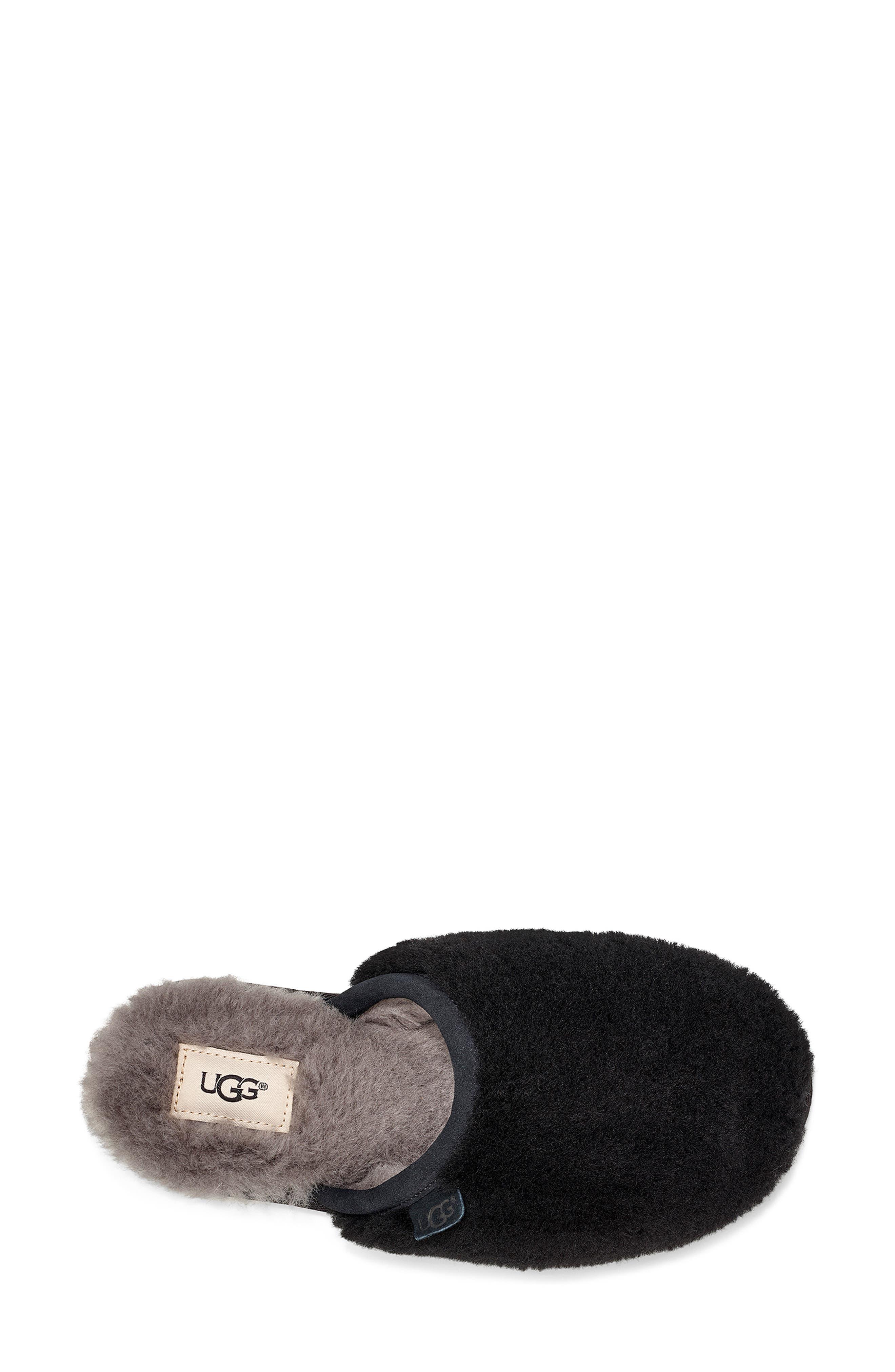 Fluffette Slipper,                             Alternate thumbnail 4, color,                             BLACK WOOL