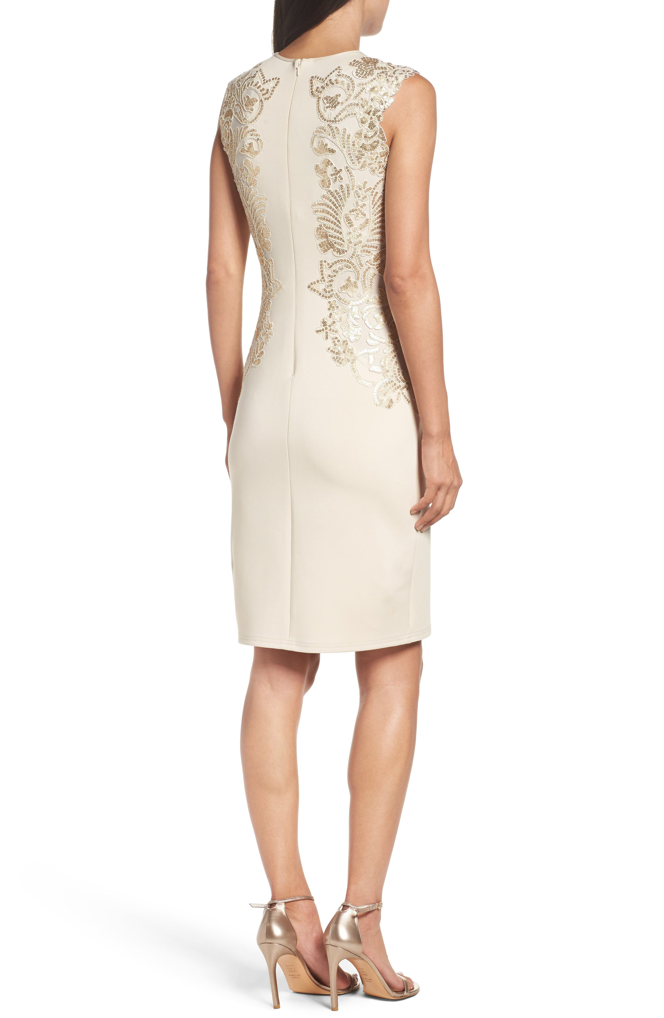 Sequin Appliqué Neoprene Sheath Dress,                             Alternate thumbnail 2, color,                             250