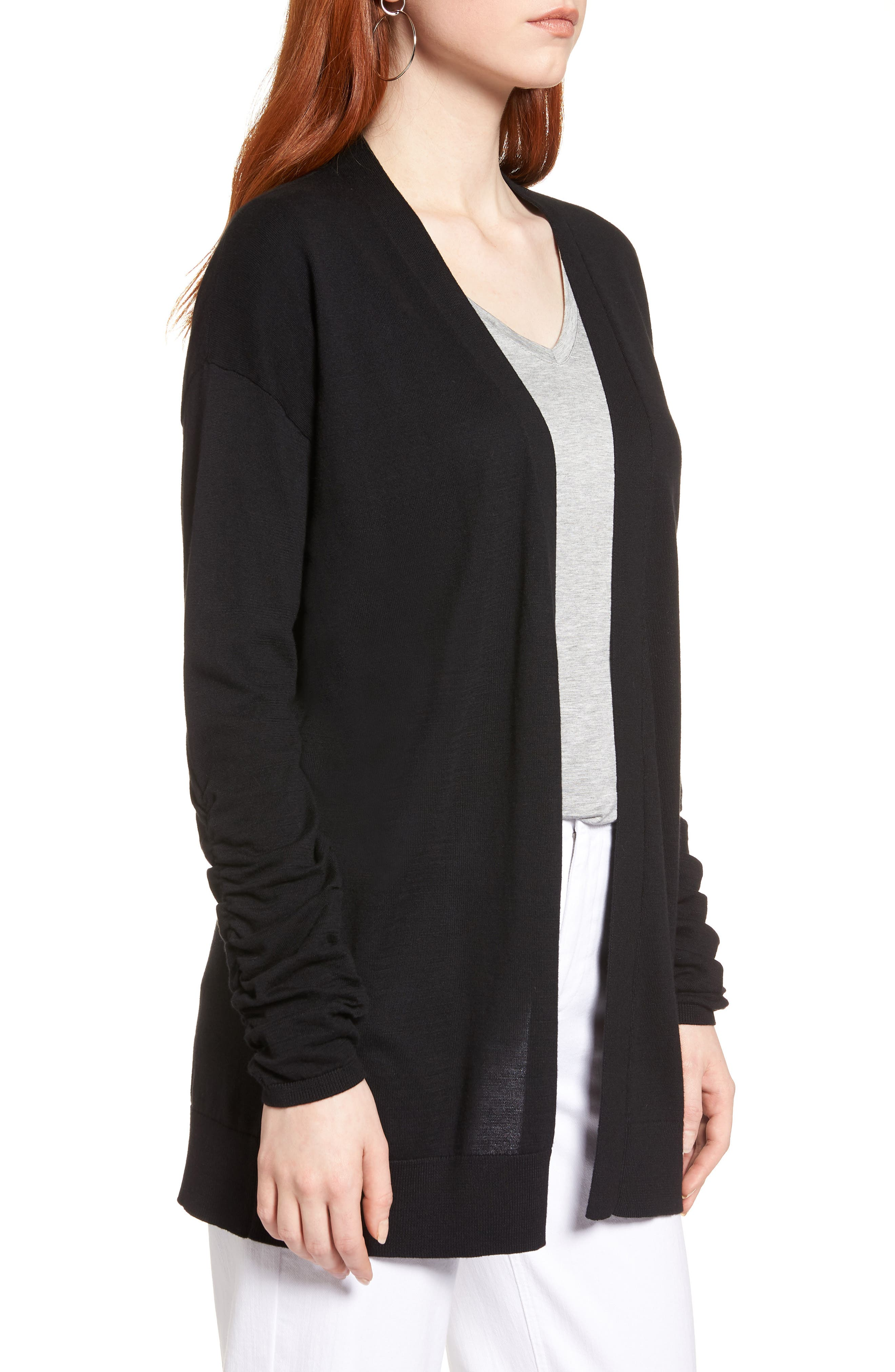 Ruched Sleeve Cardigan,                             Alternate thumbnail 3, color,                             001
