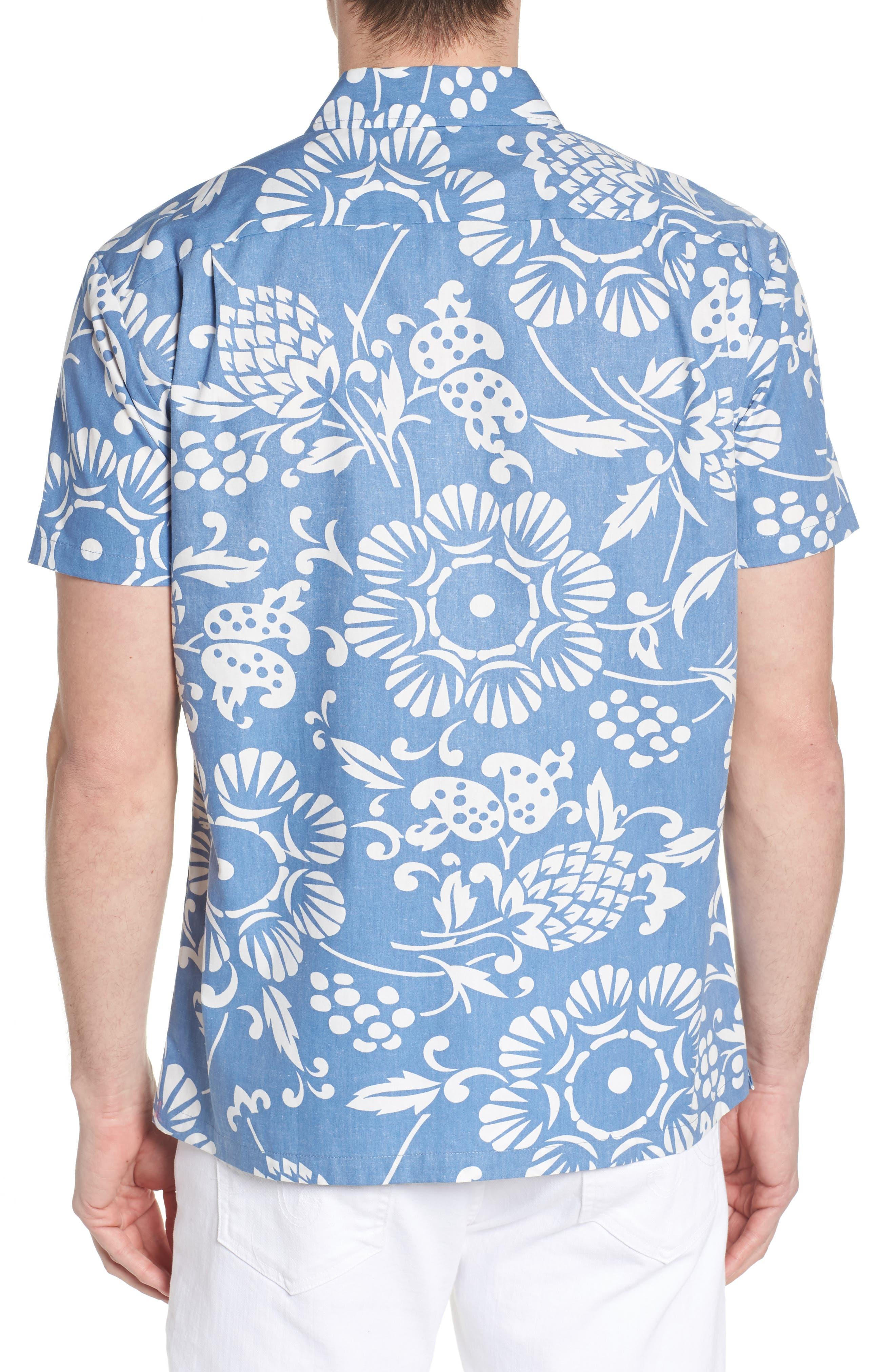 Duke's Pareo Trim Fit Sport Shirt,                             Alternate thumbnail 2, color,                             WAVE