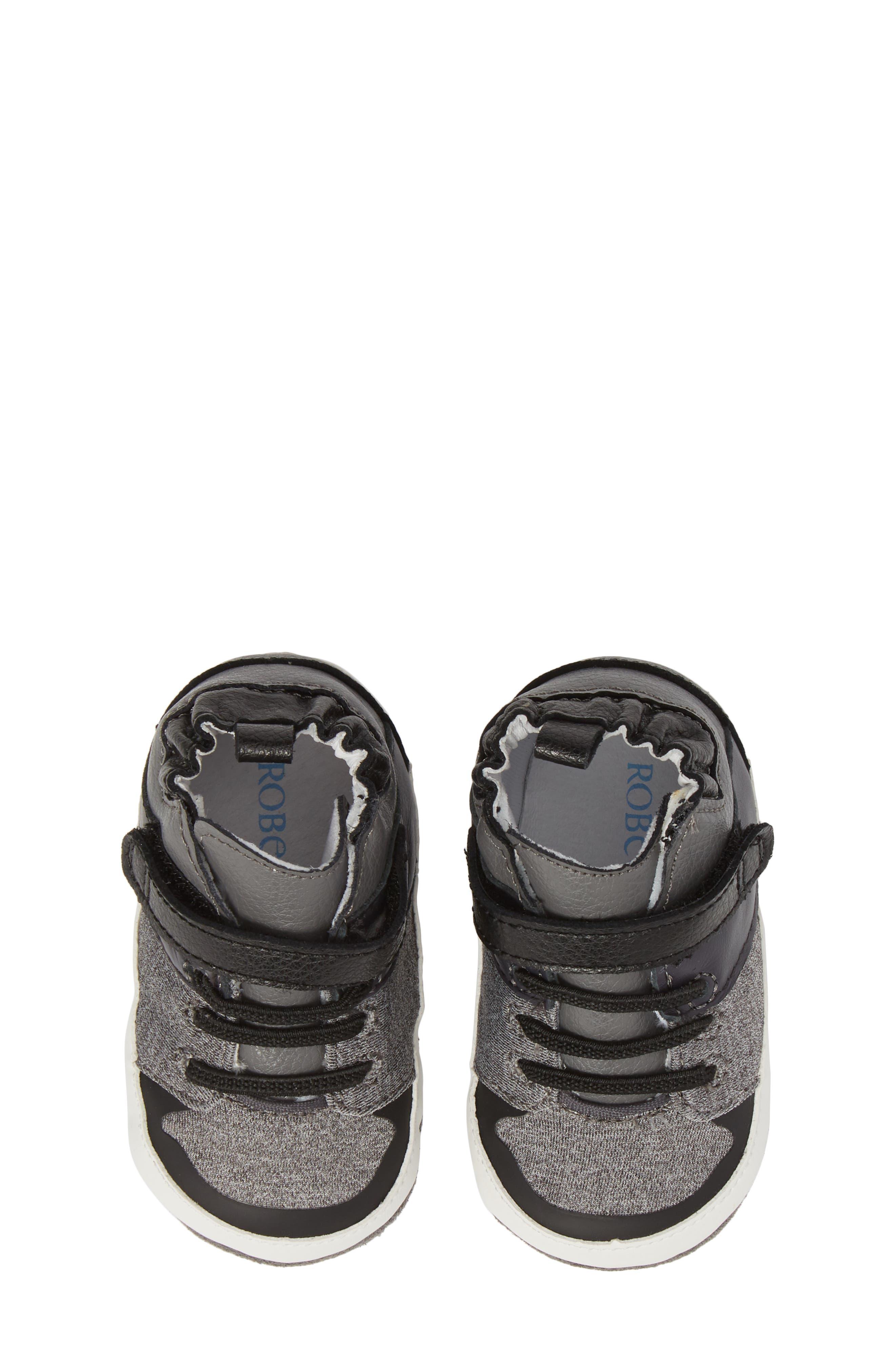 Zachary High Top Crib Sneaker,                             Alternate thumbnail 5, color,                             BLACK