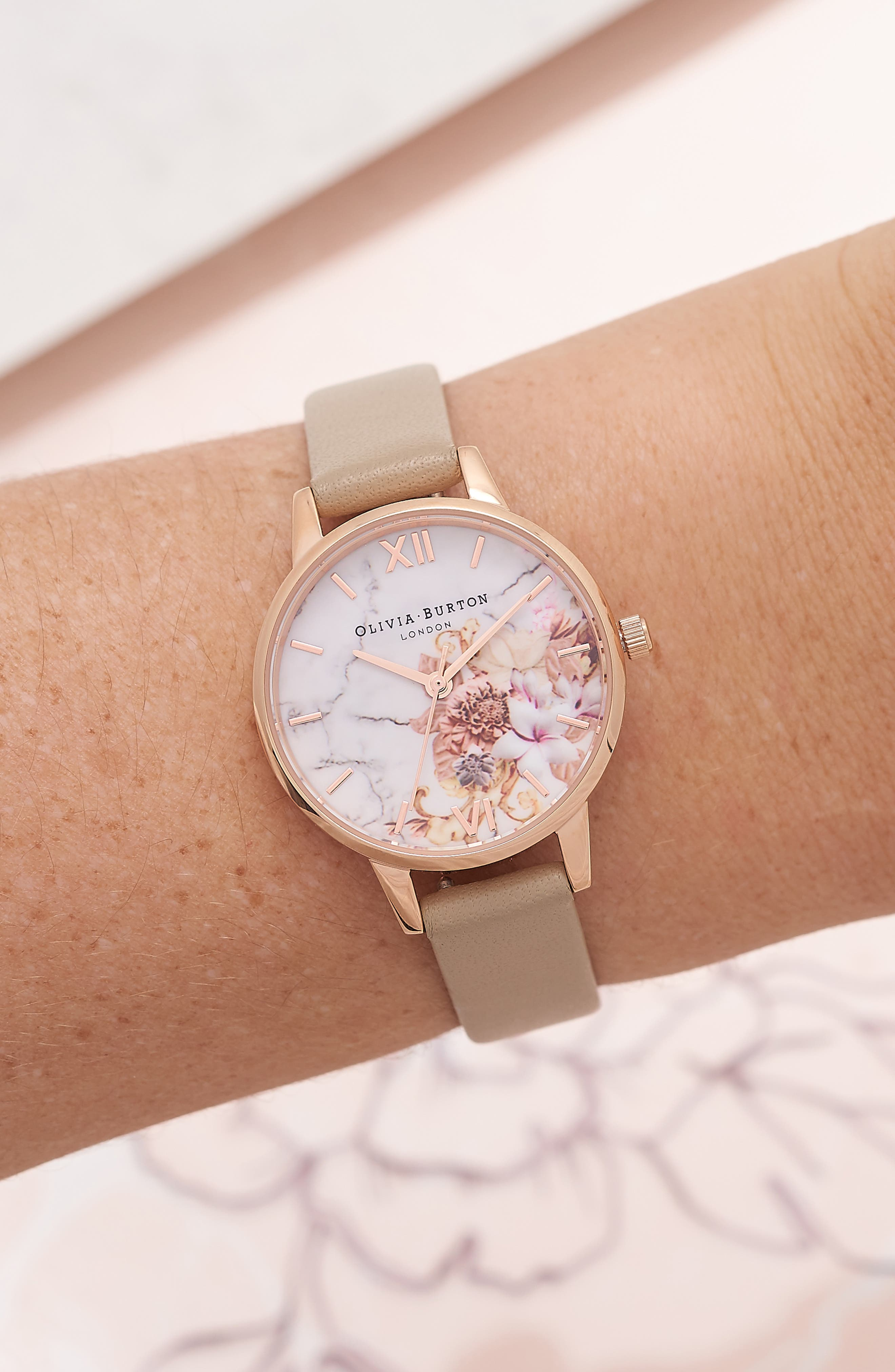 Marble Floral Leather Strap Watch, 30mm,                             Alternate thumbnail 2, color,                             SAND/ FLORAL/ ROSE GOLD