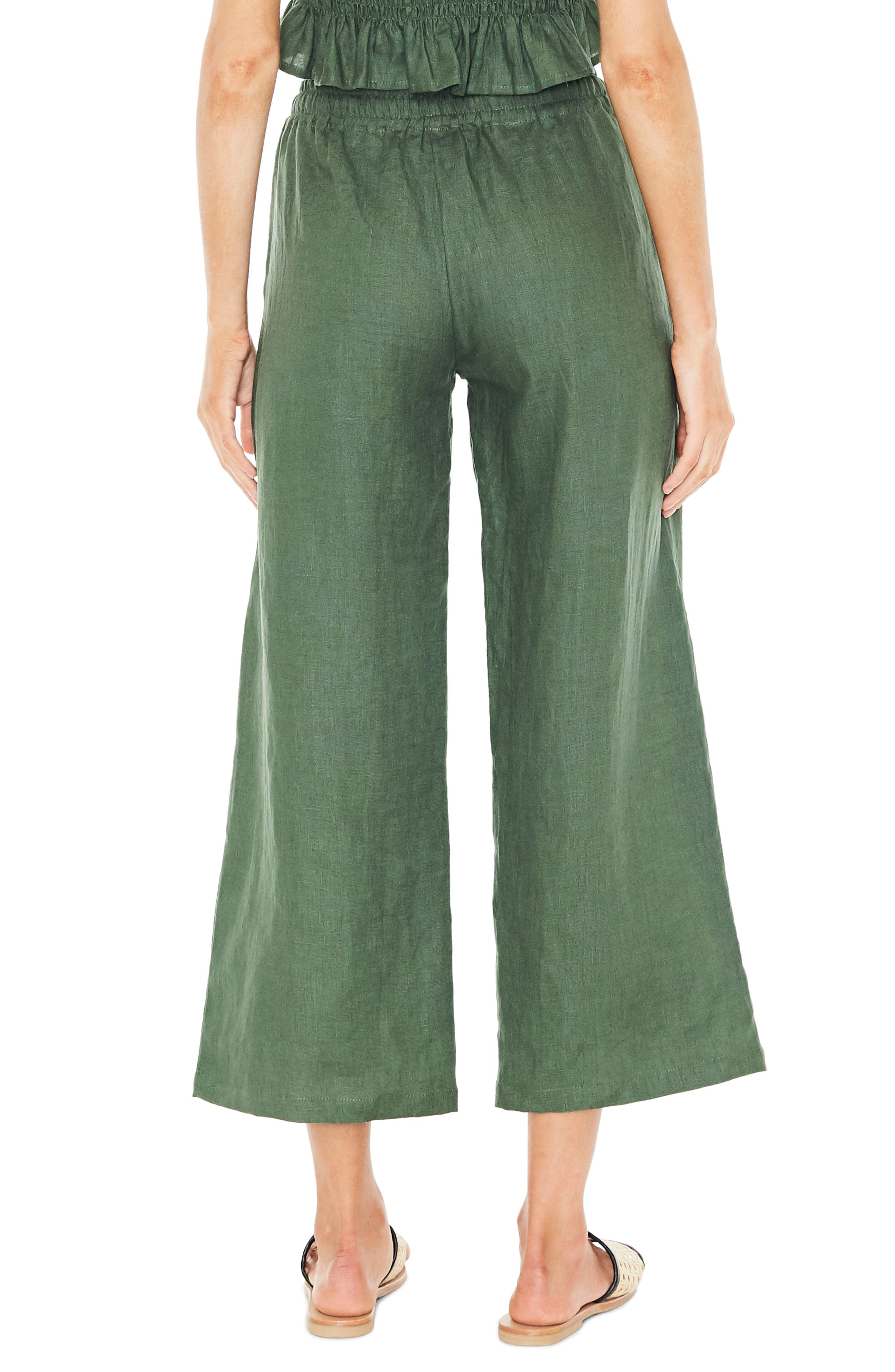 Clemence Linen Pants,                             Alternate thumbnail 2, color,                             PLAIN MOSS GREEN